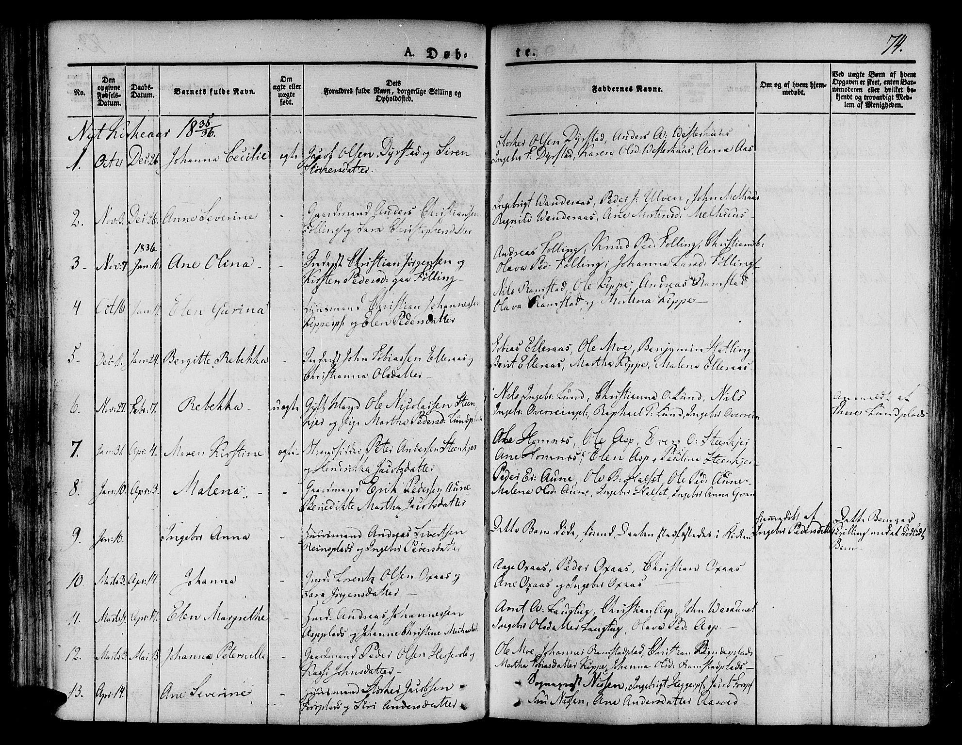 SAT, Ministerialprotokoller, klokkerbøker og fødselsregistre - Nord-Trøndelag, 746/L0445: Ministerialbok nr. 746A04, 1826-1846, s. 74