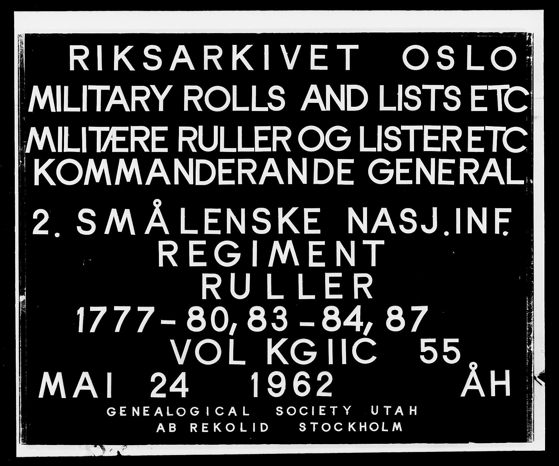 RA, Generalitets- og kommissariatskollegiet, Det kongelige norske kommissariatskollegium, E/Eh/L0055: 2. Smålenske nasjonale infanteriregiment, 1777-1787, s. 1