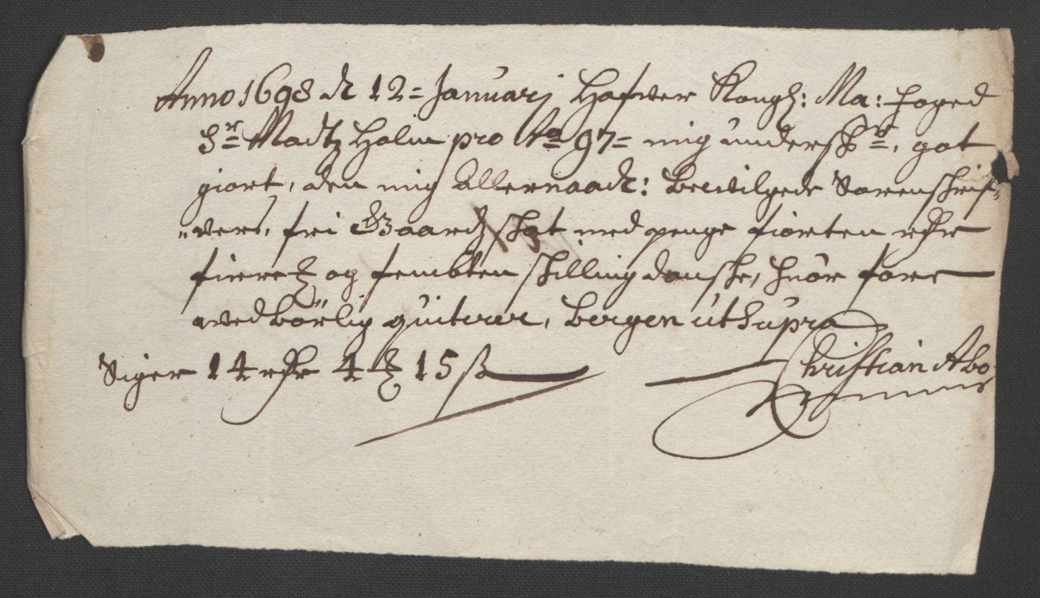 RA, Rentekammeret inntil 1814, Reviderte regnskaper, Fogderegnskap, R51/L3183: Fogderegnskap Nordhordland og Voss, 1695-1697, s. 453