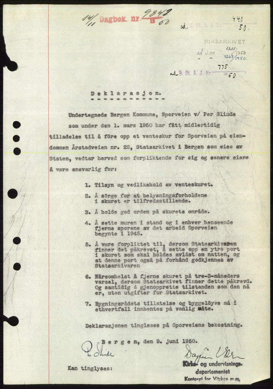 SAB, Byfogd og Byskriver i Bergen, 03/03Bc/L0034: Pantebok nr. A27-28, 1950-1950, Dagboknr: 9841/1950