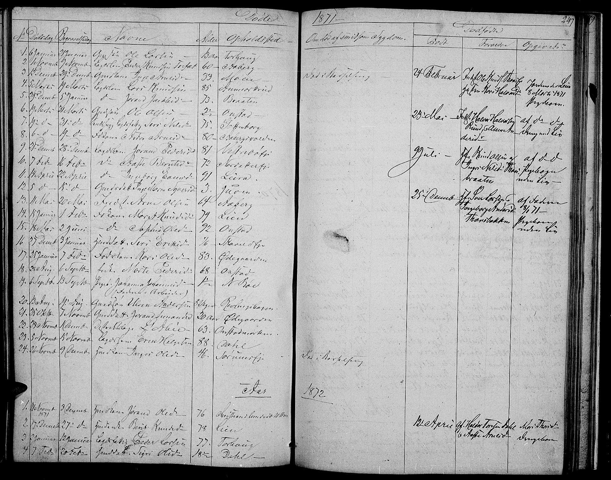 SAH, Nord-Aurdal prestekontor, Klokkerbok nr. 2, 1842-1877, s. 247