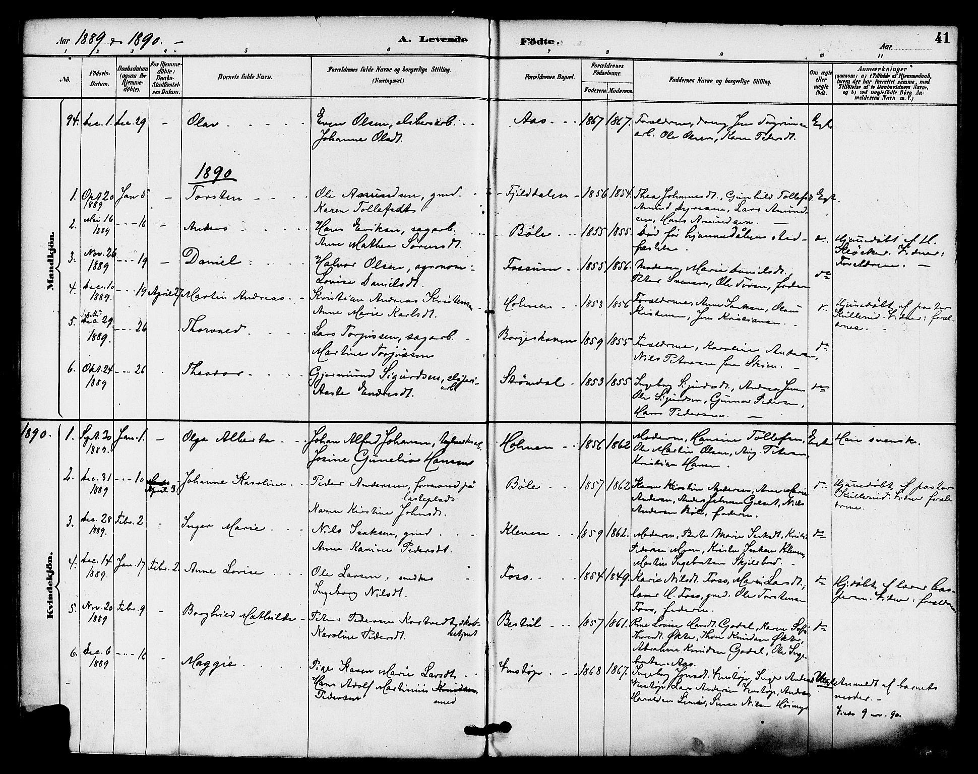 SAKO, Gjerpen kirkebøker, F/Fa/L0010: Ministerialbok nr. 10, 1886-1895, s. 41