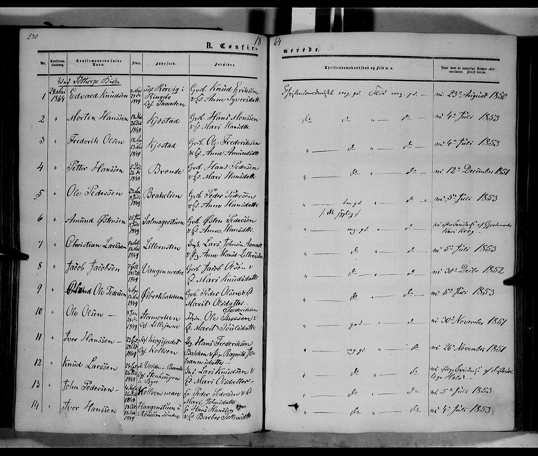 SAH, Nord-Fron prestekontor, Ministerialbok nr. 1, 1851-1864, s. 230