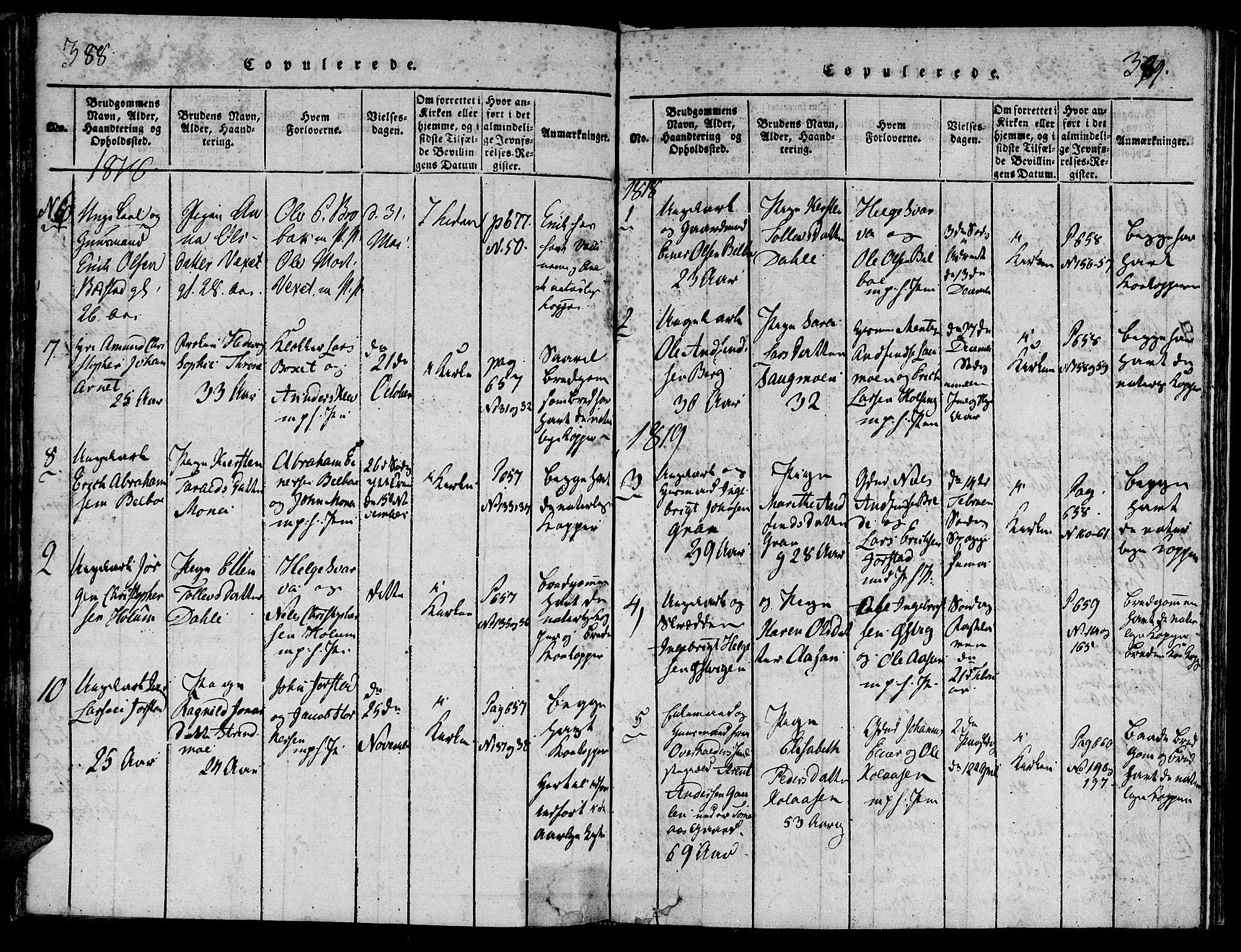 SAT, Ministerialprotokoller, klokkerbøker og fødselsregistre - Nord-Trøndelag, 749/L0479: Klokkerbok nr. 749C01, 1817-1829, s. 388-389