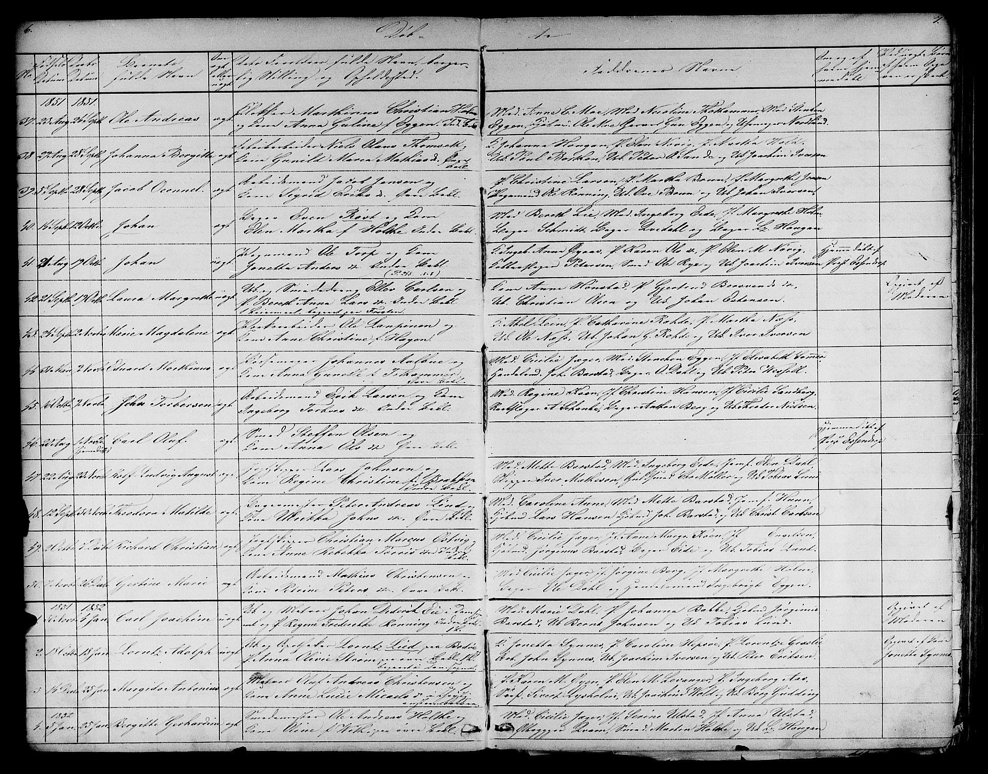 SAT, Ministerialprotokoller, klokkerbøker og fødselsregistre - Sør-Trøndelag, 604/L0219: Klokkerbok nr. 604C02, 1851-1869, s. 6-7
