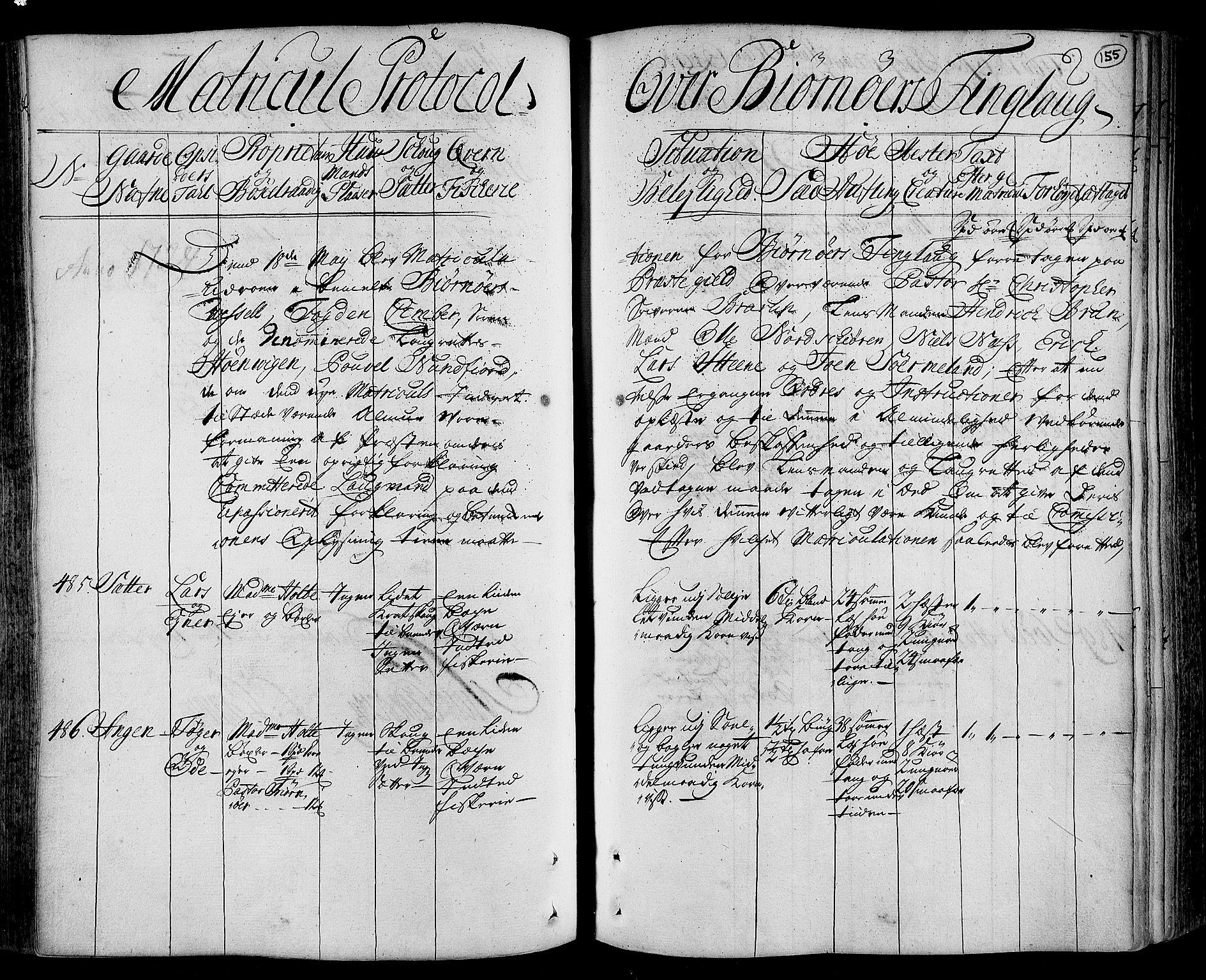 RA, Rentekammeret inntil 1814, Realistisk ordnet avdeling, N/Nb/Nbf/L0162: Fosen eksaminasjonsprotokoll, 1723, s. 154b-155a