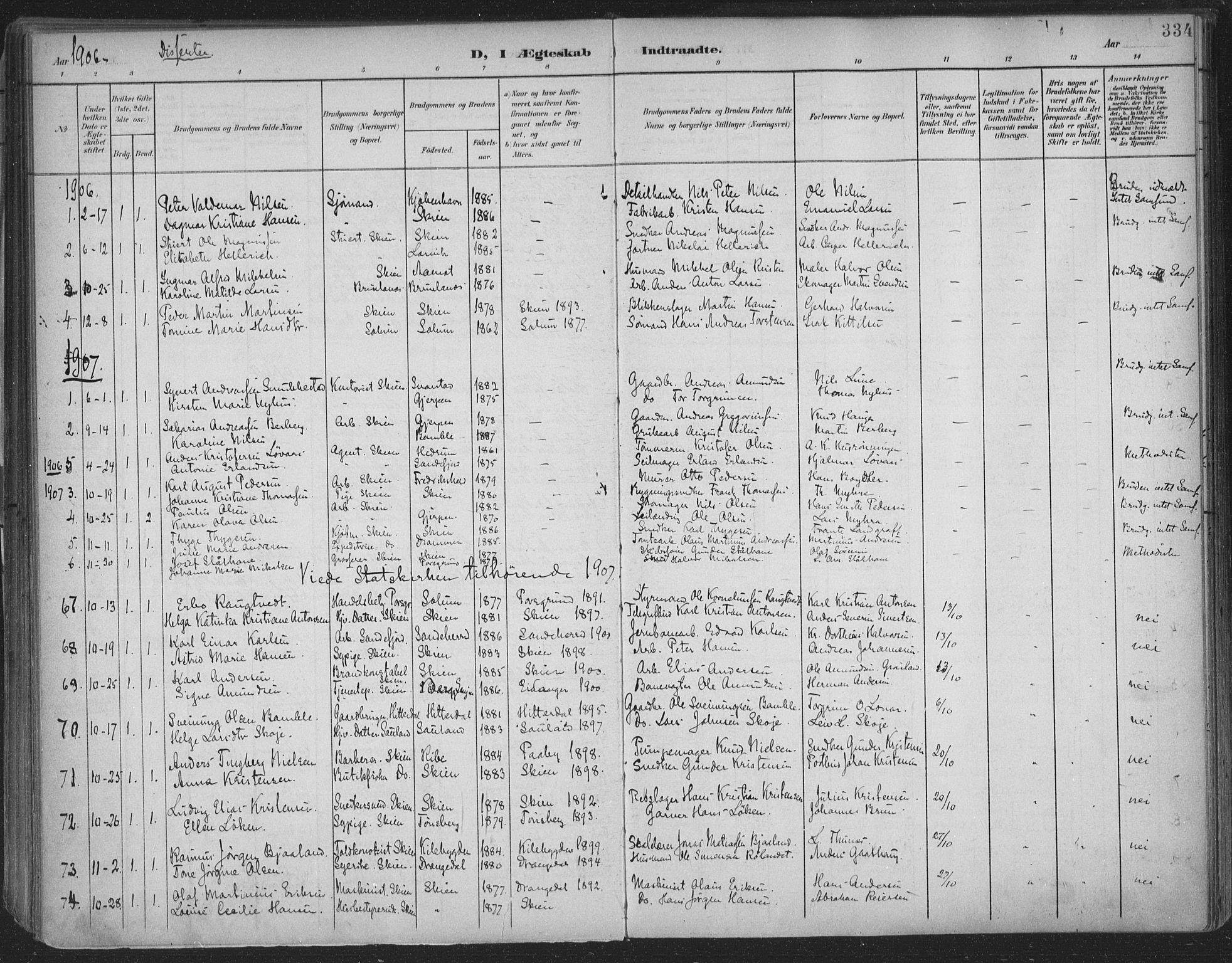 SAKO, Skien kirkebøker, F/Fa/L0011: Ministerialbok nr. 11, 1900-1907, s. 334
