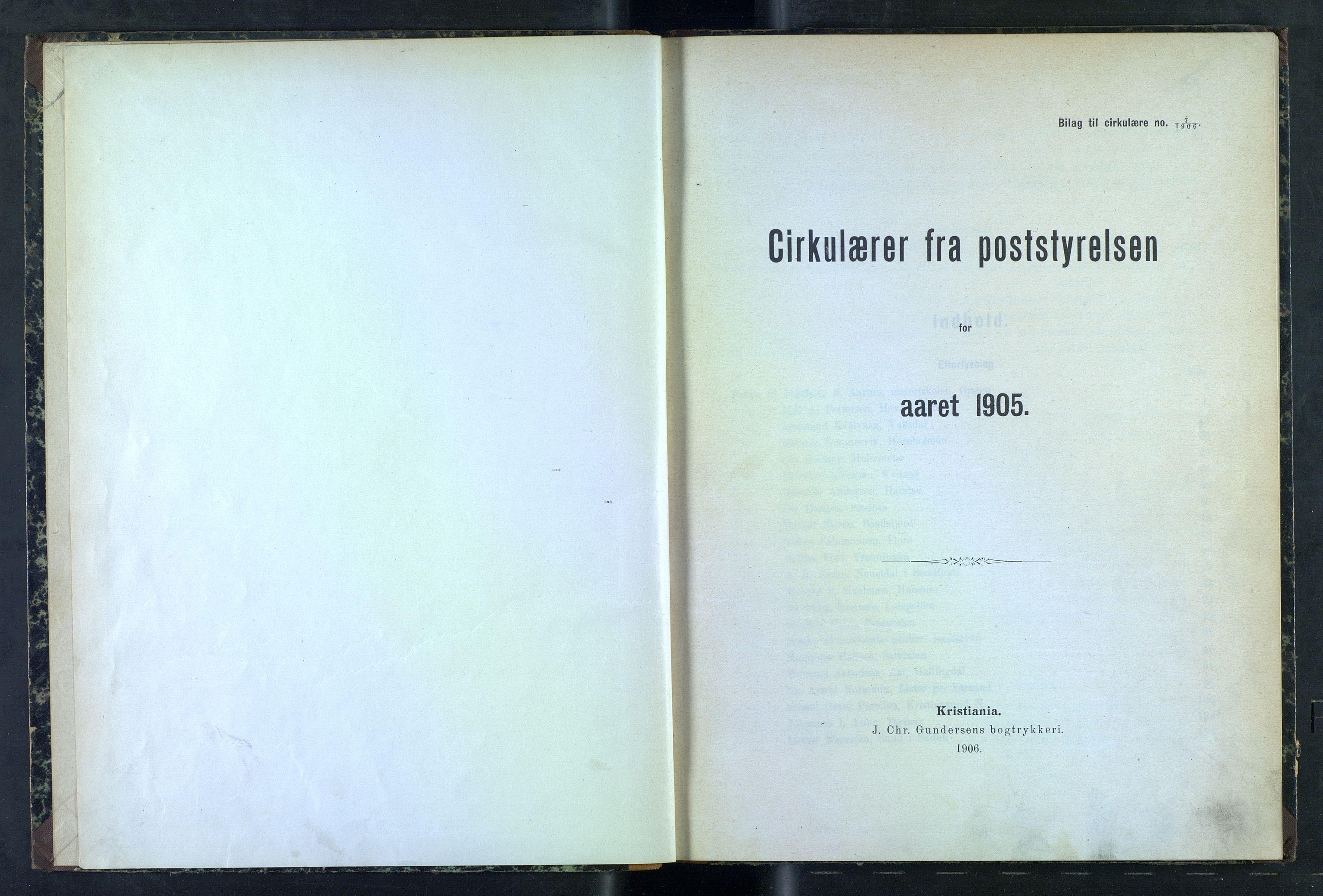 NOPO, Norges Postmuseums bibliotek, -/-: Sirkulærer fra Poststyrelsen, 1905