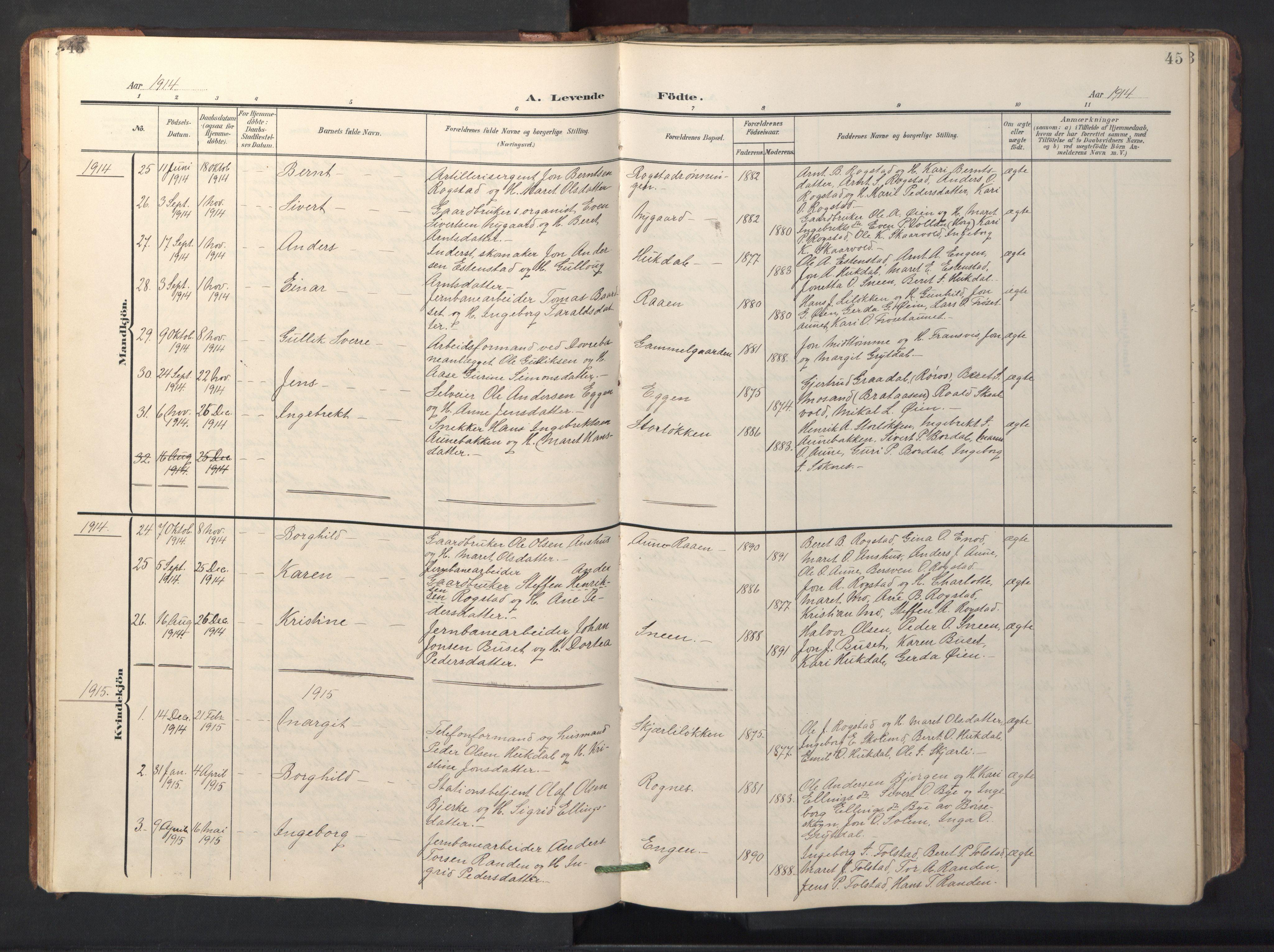 SAT, Ministerialprotokoller, klokkerbøker og fødselsregistre - Sør-Trøndelag, 687/L1019: Klokkerbok nr. 687C03, 1904-1931, s. 45
