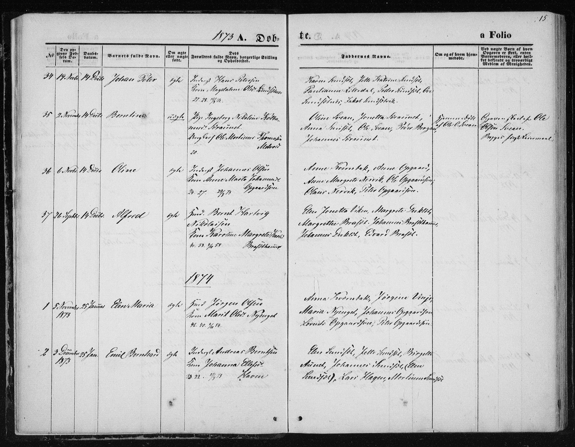SAT, Ministerialprotokoller, klokkerbøker og fødselsregistre - Nord-Trøndelag, 733/L0324: Ministerialbok nr. 733A03, 1870-1883, s. 15