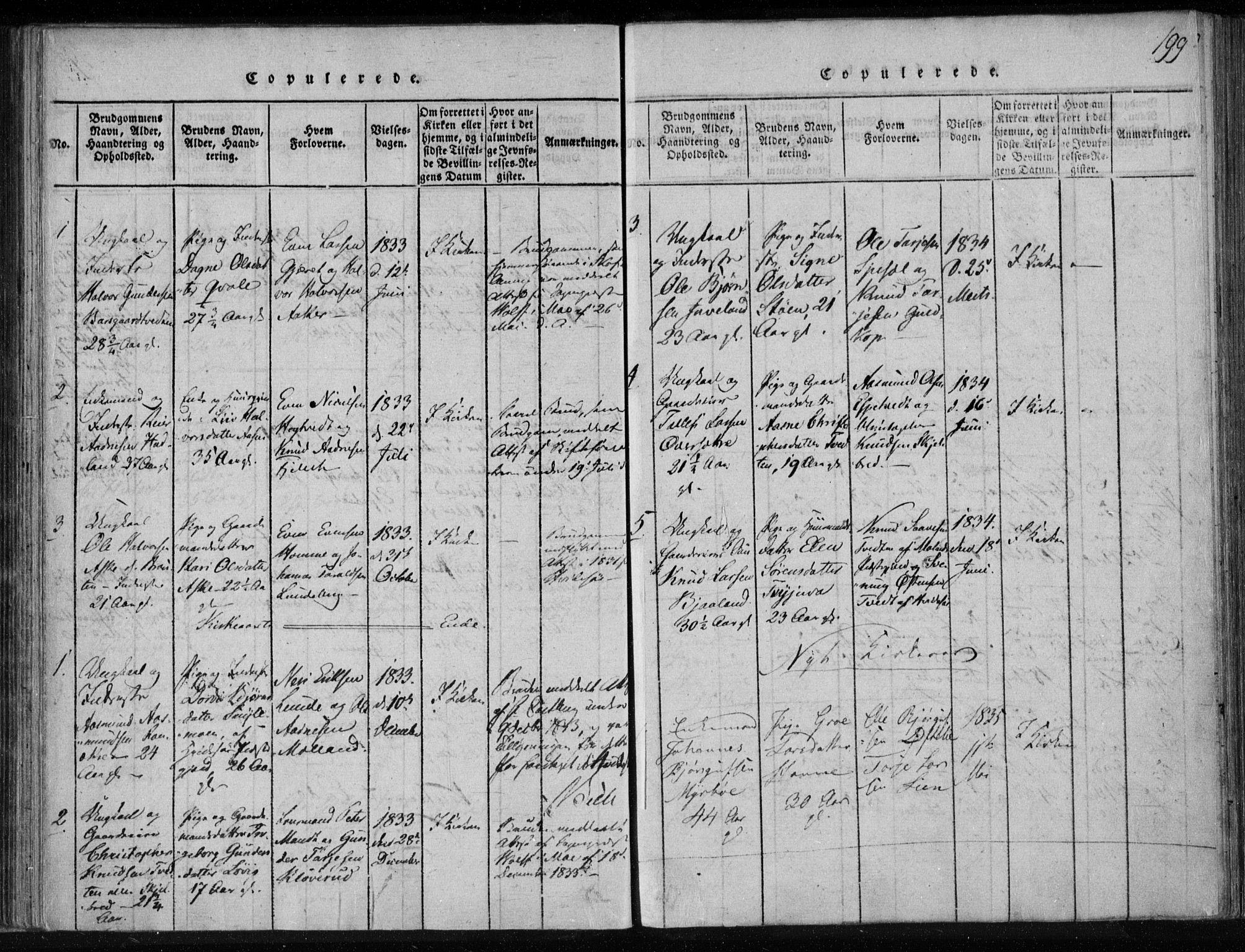 SAKO, Lårdal kirkebøker, F/Fa/L0005: Ministerialbok nr. I 5, 1815-1860, s. 199
