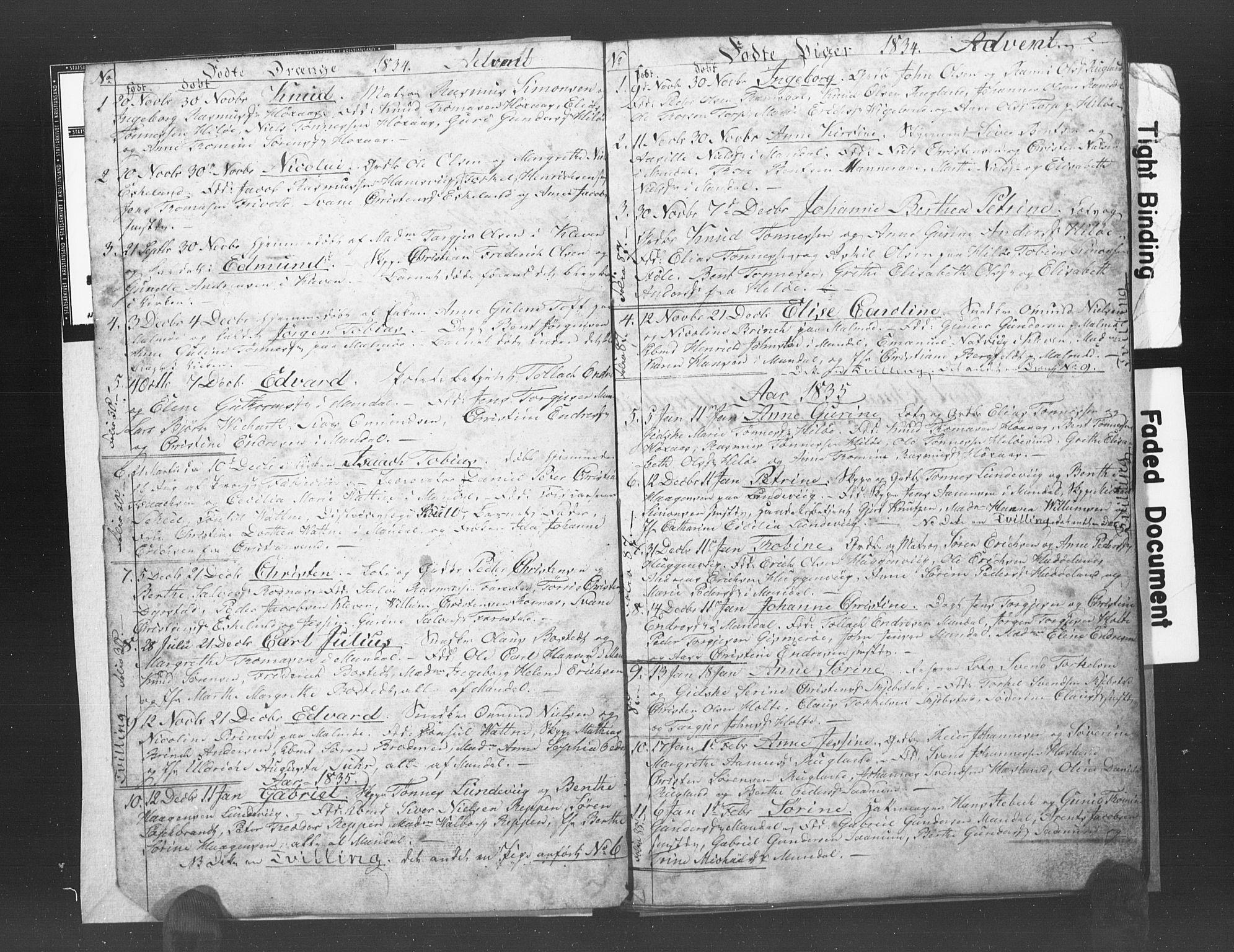 SAK, Mandal sokneprestkontor, F/Fb/Fba/L0003: Klokkerbok nr. B 1C, 1834-1838, s. 2