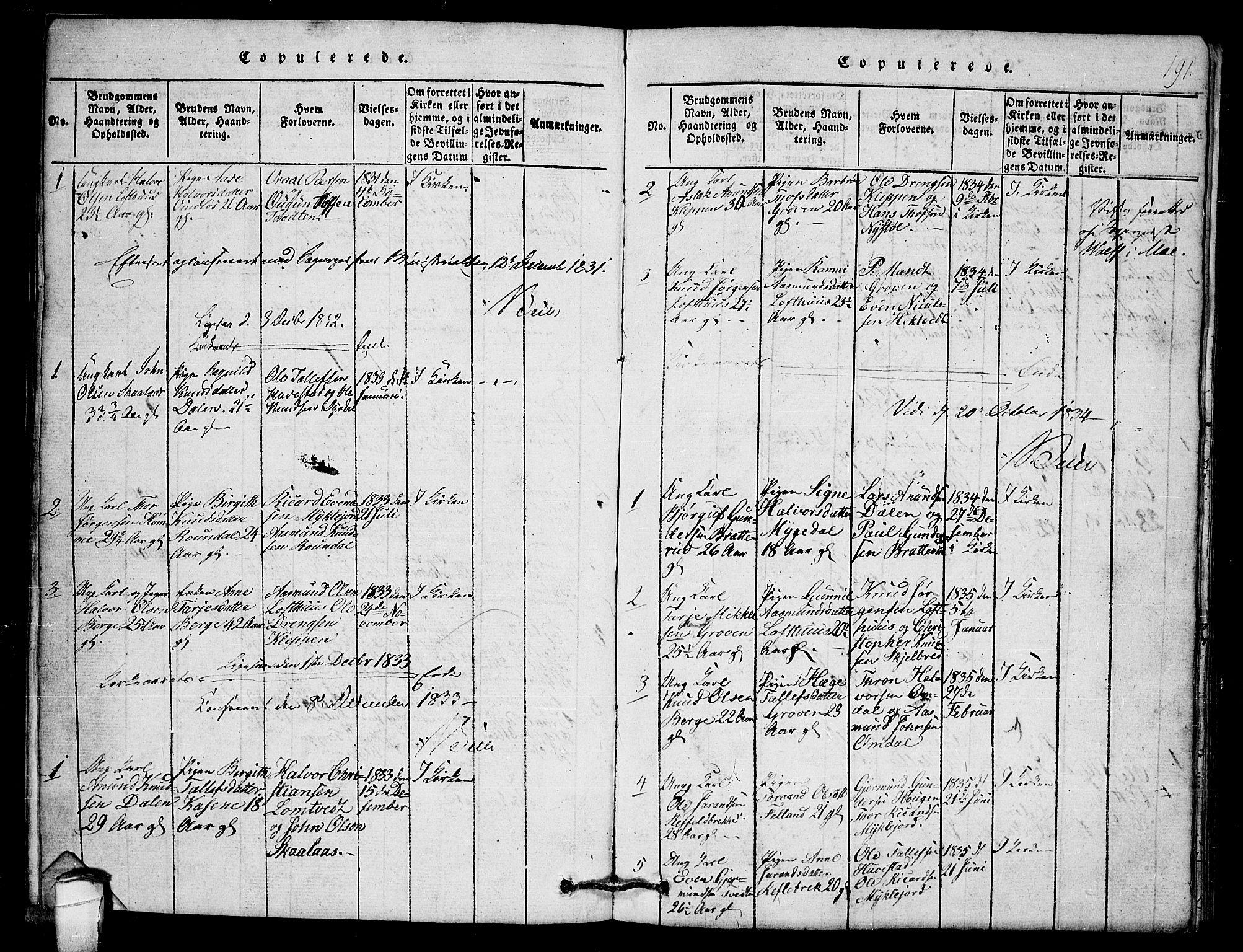 SAKO, Lårdal kirkebøker, G/Gb/L0001: Klokkerbok nr. II 1, 1815-1865, s. 191