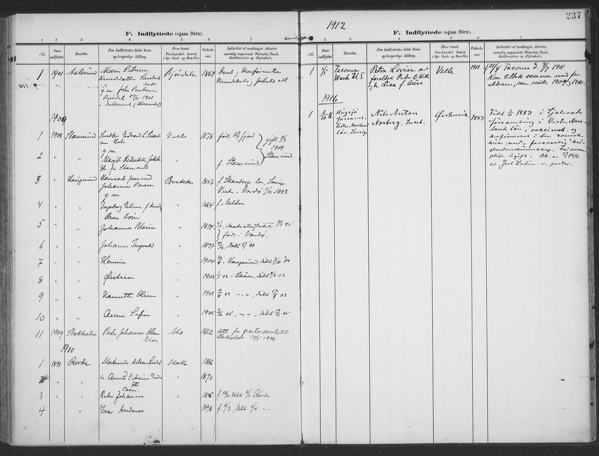 SAT, Ministerialprotokoller, klokkerbøker og fødselsregistre - Møre og Romsdal, 513/L0178: Ministerialbok nr. 513A05, 1906-1919, s. 237