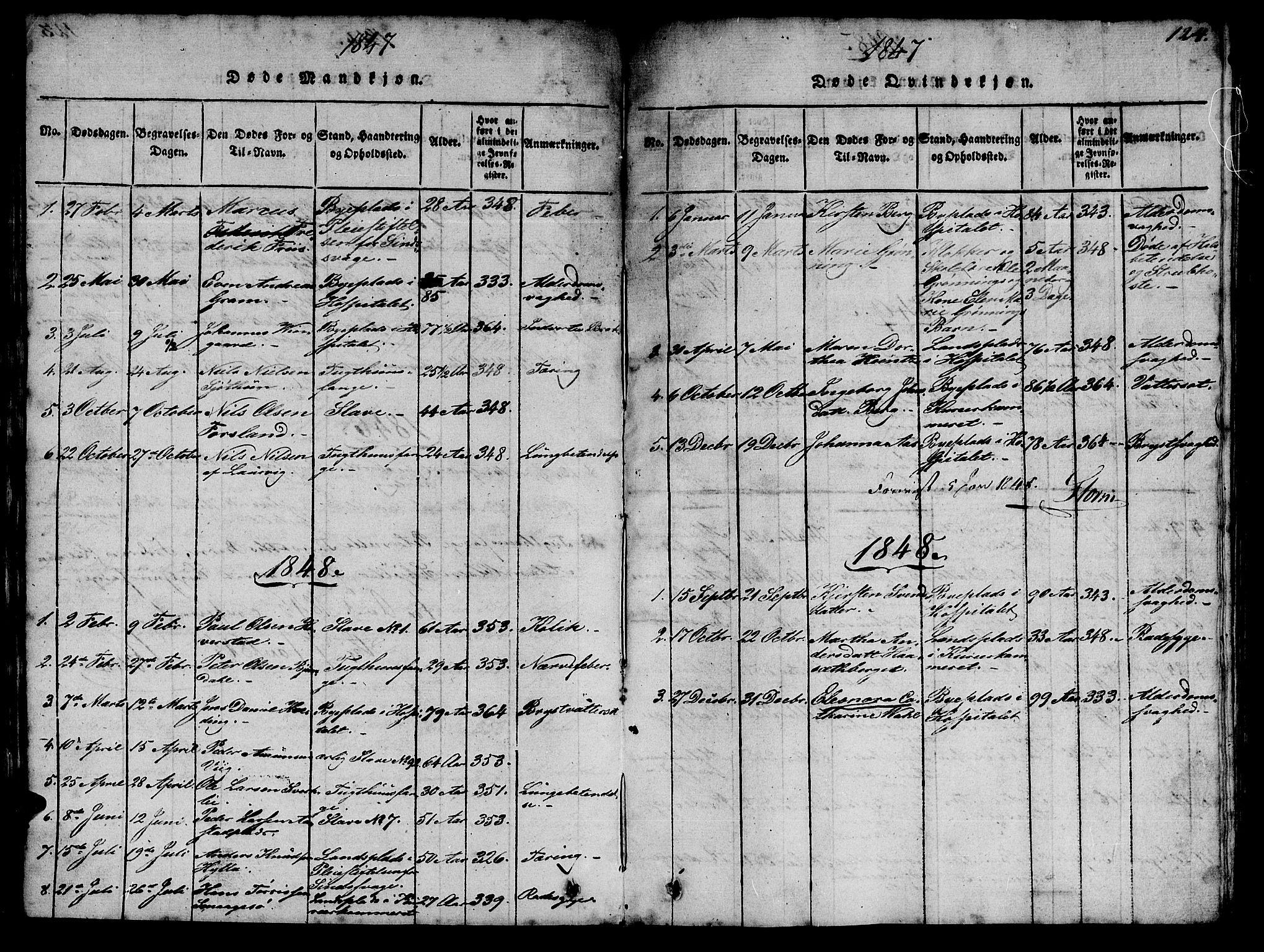 SAT, Ministerialprotokoller, klokkerbøker og fødselsregistre - Sør-Trøndelag, 623/L0478: Klokkerbok nr. 623C01, 1815-1873, s. 124