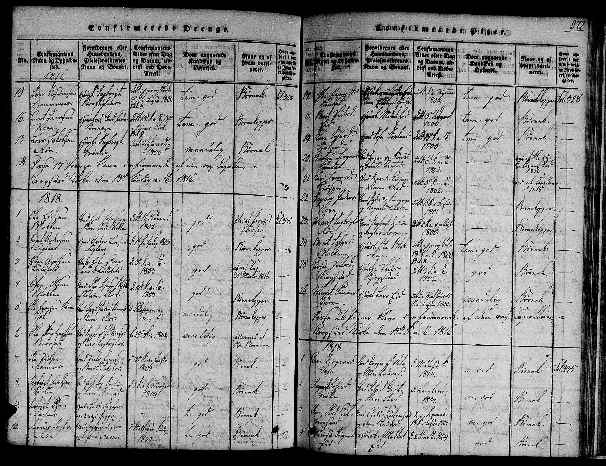 SAT, Ministerialprotokoller, klokkerbøker og fødselsregistre - Sør-Trøndelag, 691/L1068: Ministerialbok nr. 691A03 /4, 1816-1826, s. 272
