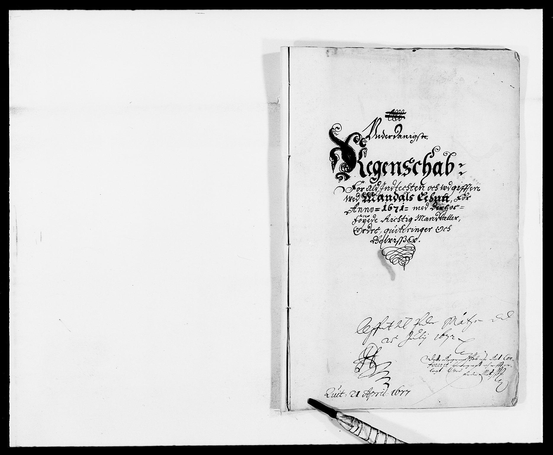 RA, Rentekammeret inntil 1814, Reviderte regnskaper, Fogderegnskap, R42/L2539: Mandal fogderi, 1671-1675, s. 1