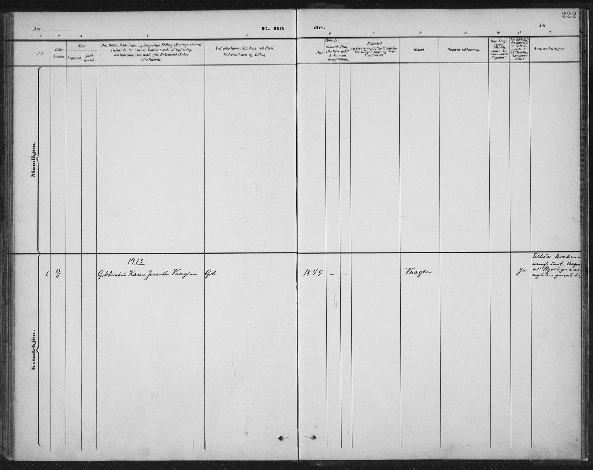 SAST, Tysvær sokneprestkontor, H/Ha/Haa/L0008: Ministerialbok nr. A 8, 1897-1918, s. 222