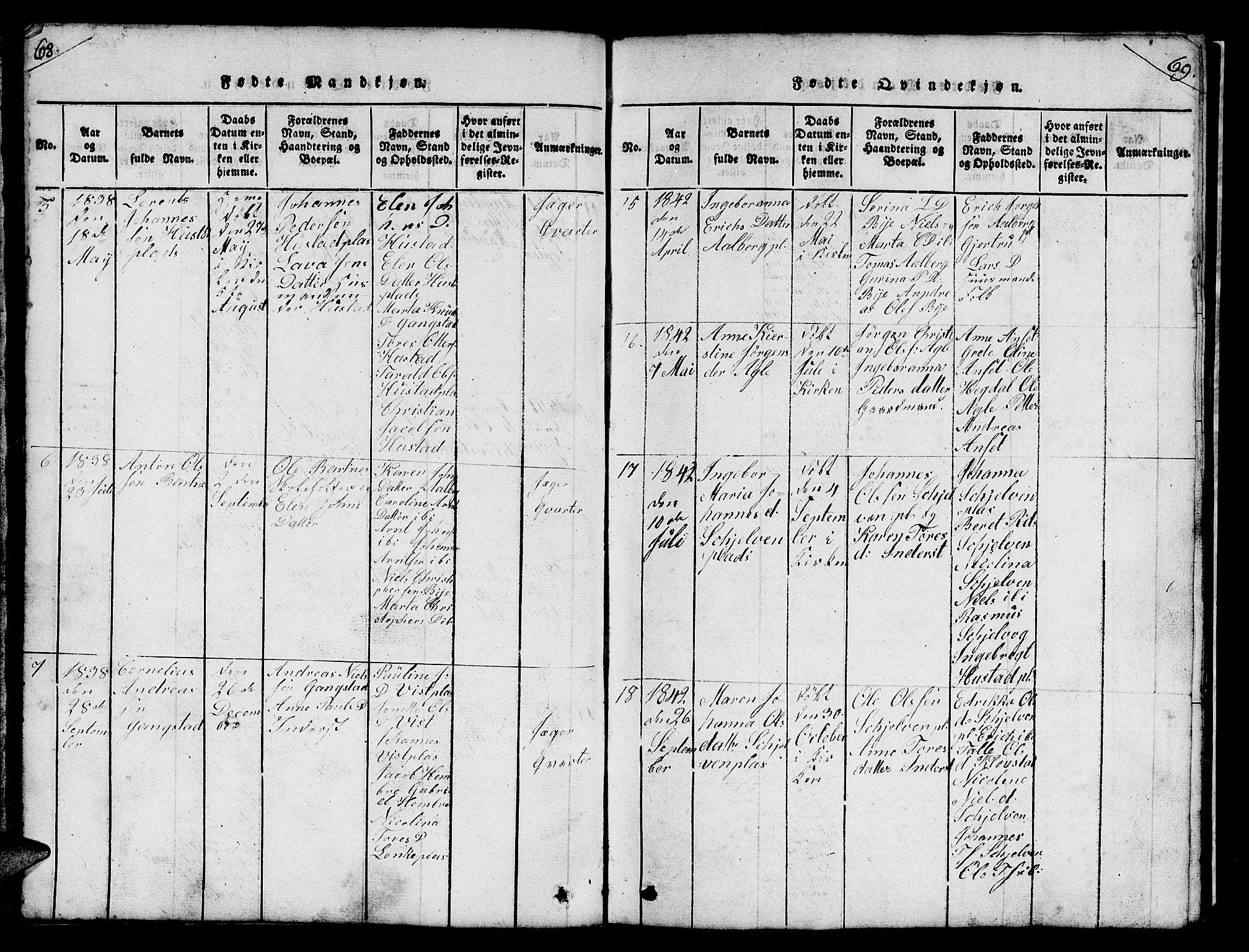 SAT, Ministerialprotokoller, klokkerbøker og fødselsregistre - Nord-Trøndelag, 732/L0317: Klokkerbok nr. 732C01, 1816-1881, s. 68-69