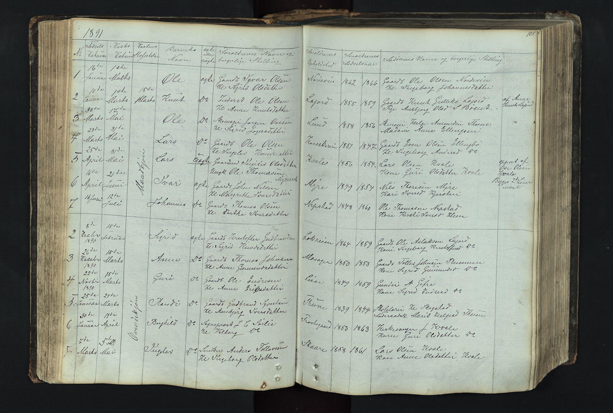 SAH, Vang prestekontor, Valdres, Klokkerbok nr. 4, 1835-1892, s. 105