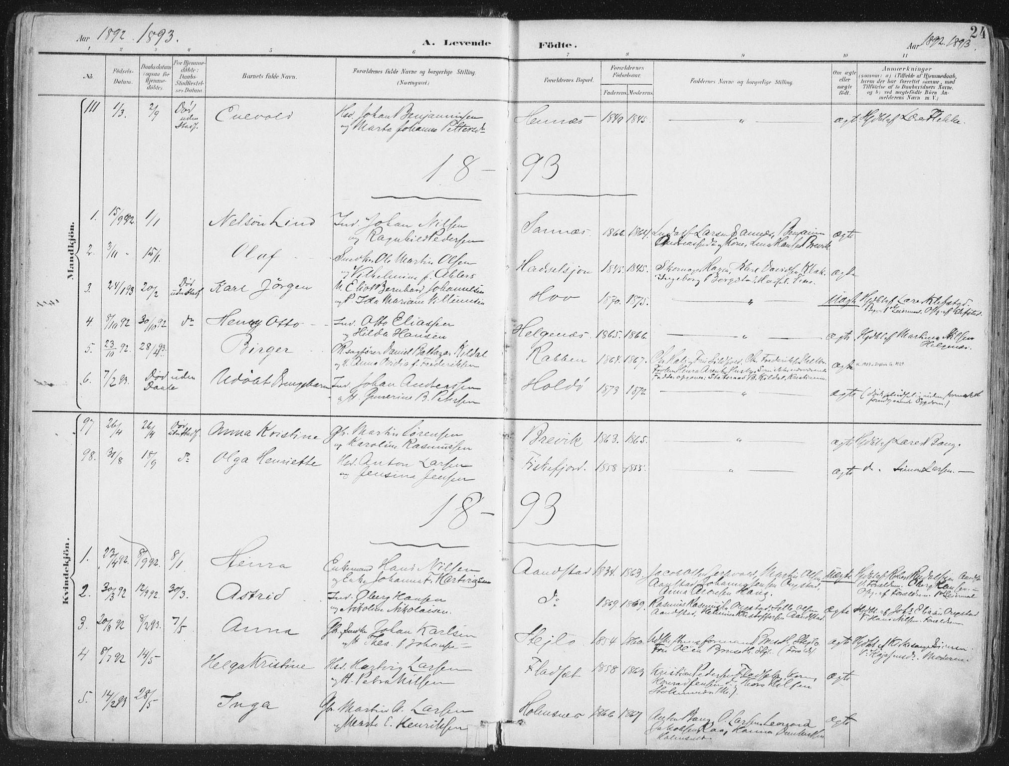SAT, Ministerialprotokoller, klokkerbøker og fødselsregistre - Nordland, 888/L1246: Ministerialbok nr. 888A12, 1891-1903, s. 24
