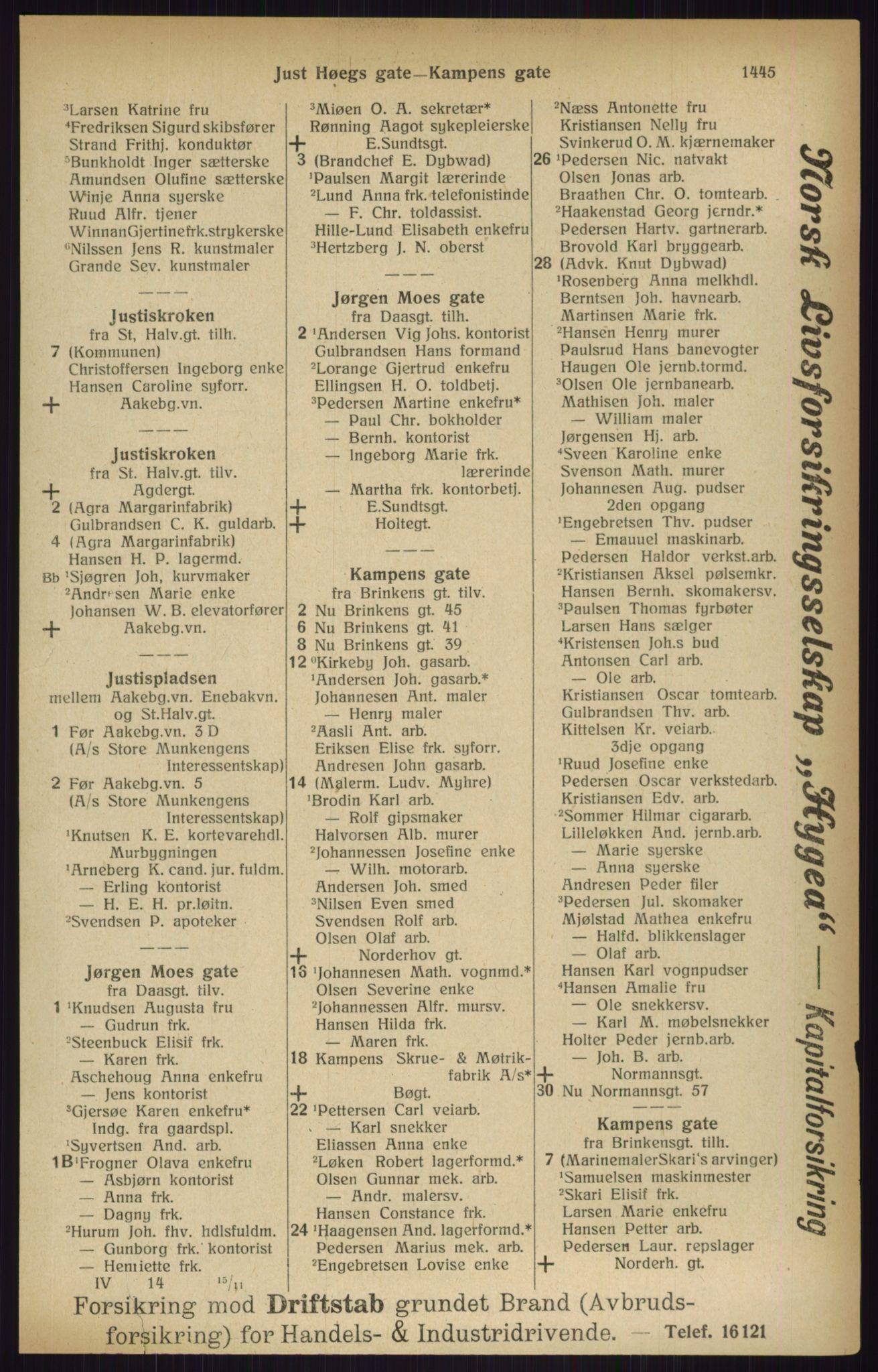 RA, Kristiania adressebok (publikasjon)*, 1916, s. 1445