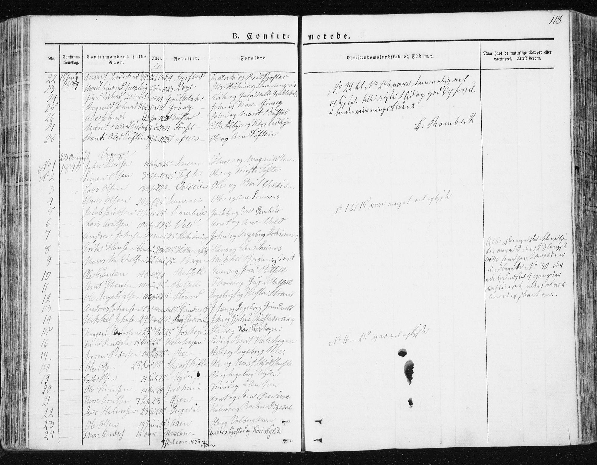 SAT, Ministerialprotokoller, klokkerbøker og fødselsregistre - Sør-Trøndelag, 672/L0855: Ministerialbok nr. 672A07, 1829-1860, s. 118