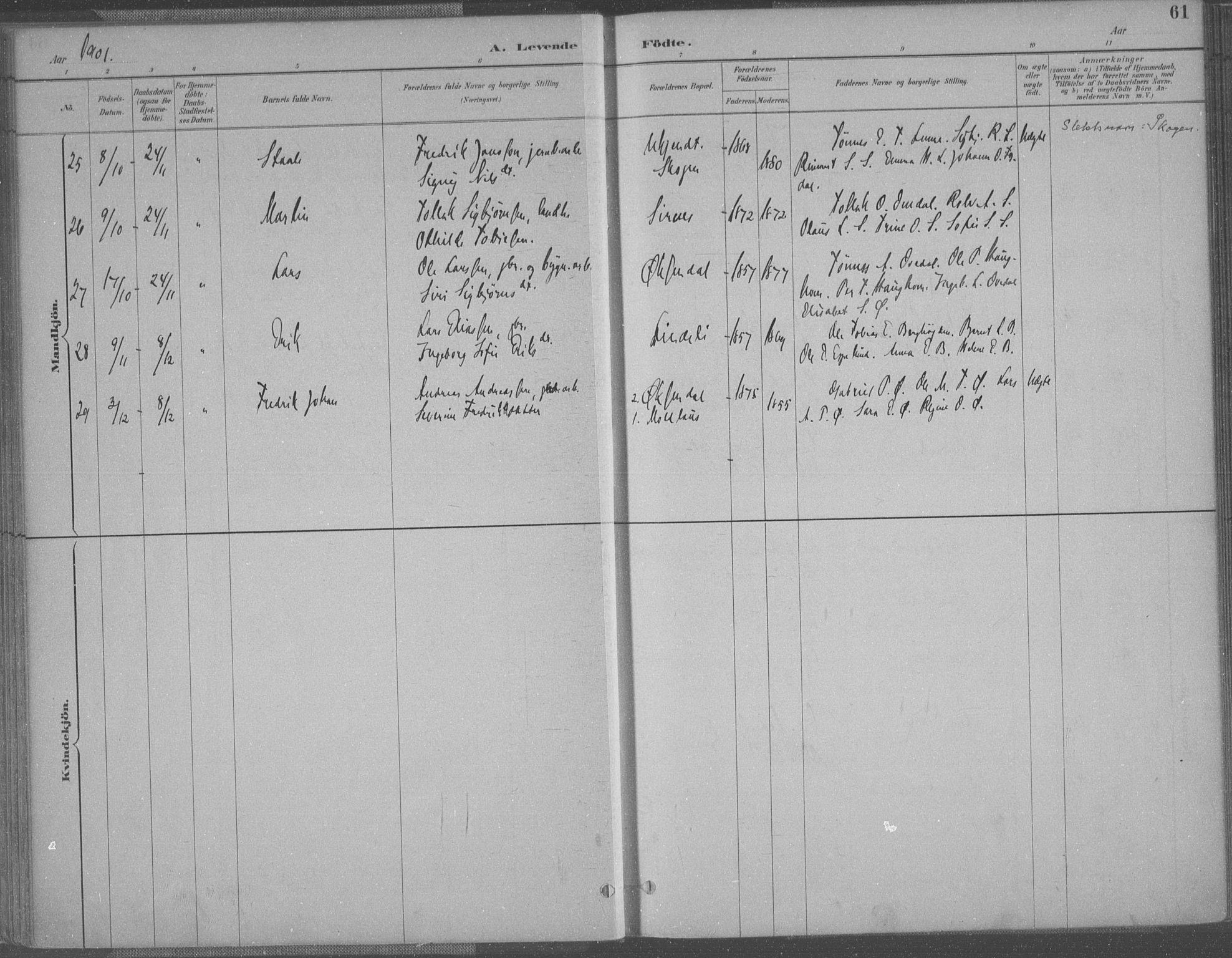 SAK, Bakke sokneprestkontor, F/Fa/Faa/L0008: Ministerialbok nr. A 8, 1887-1911, s. 61
