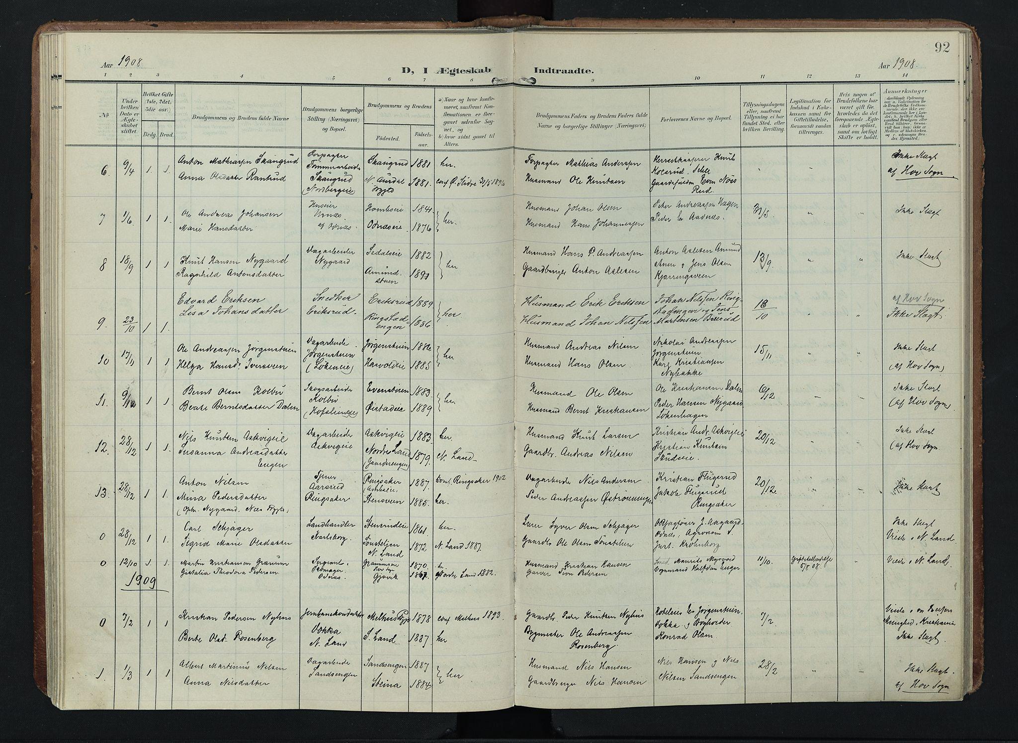 SAH, Søndre Land prestekontor, K/L0005: Ministerialbok nr. 5, 1905-1914, s. 92