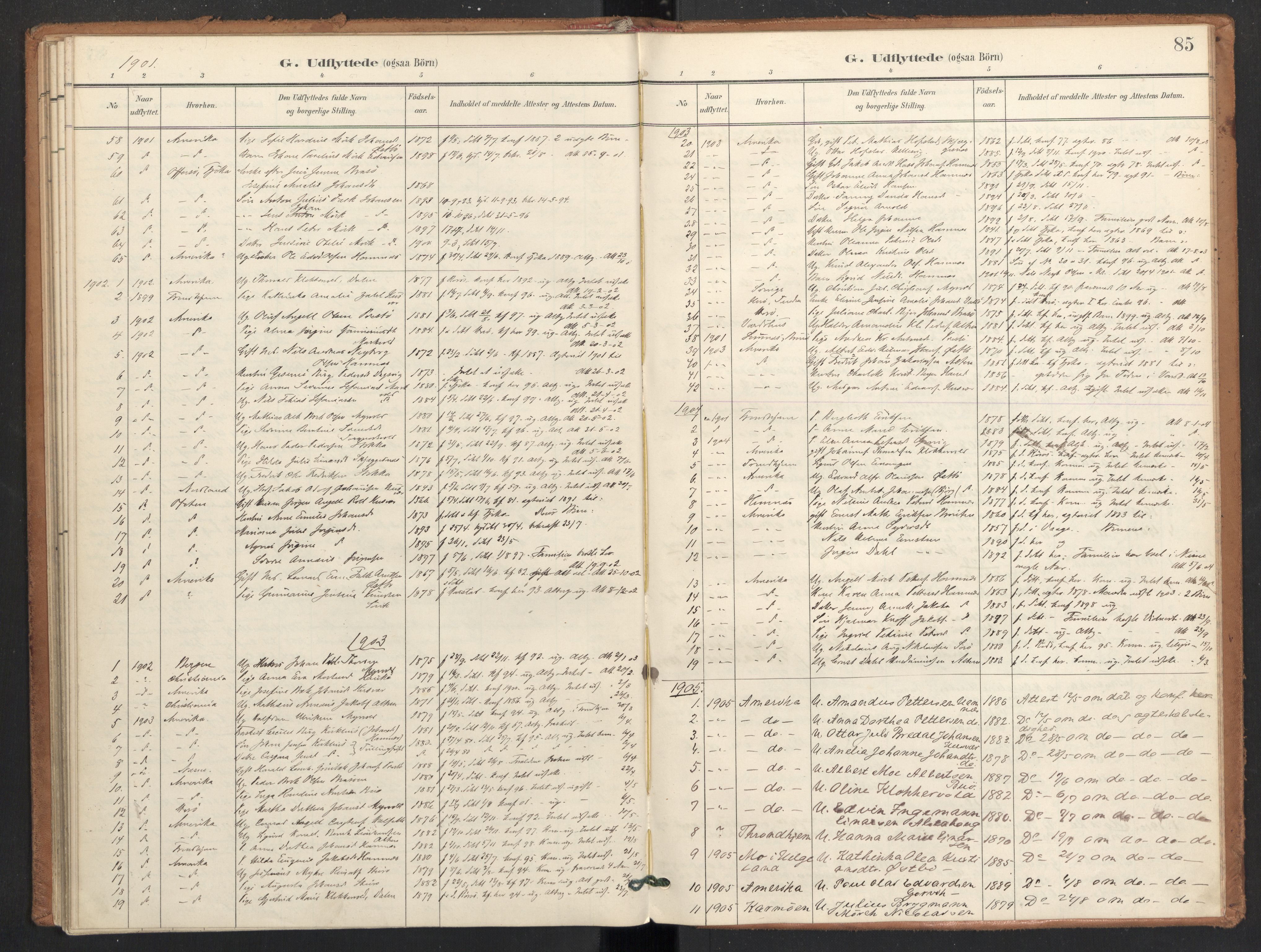 SAT, Ministerialprotokoller, klokkerbøker og fødselsregistre - Nordland, 830/L0454: Ministerialbok nr. 830A18, 1897-1913, s. 85