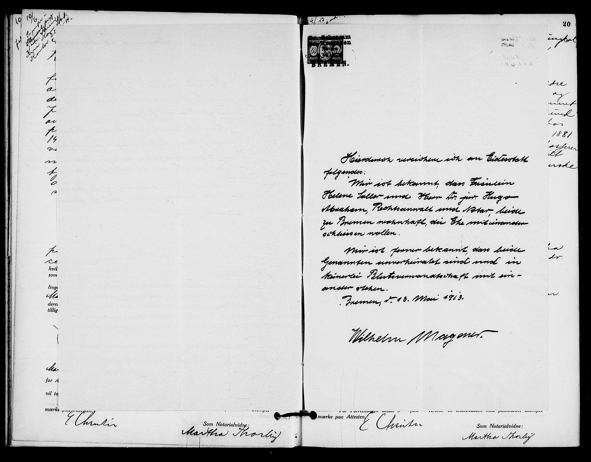 SAO, Oslo byfogd avd. I, L/Lb/Lbb/L0009: Notarialprotokoll, rekke II: Vigsler, 1913-1914, s. 19b-20a