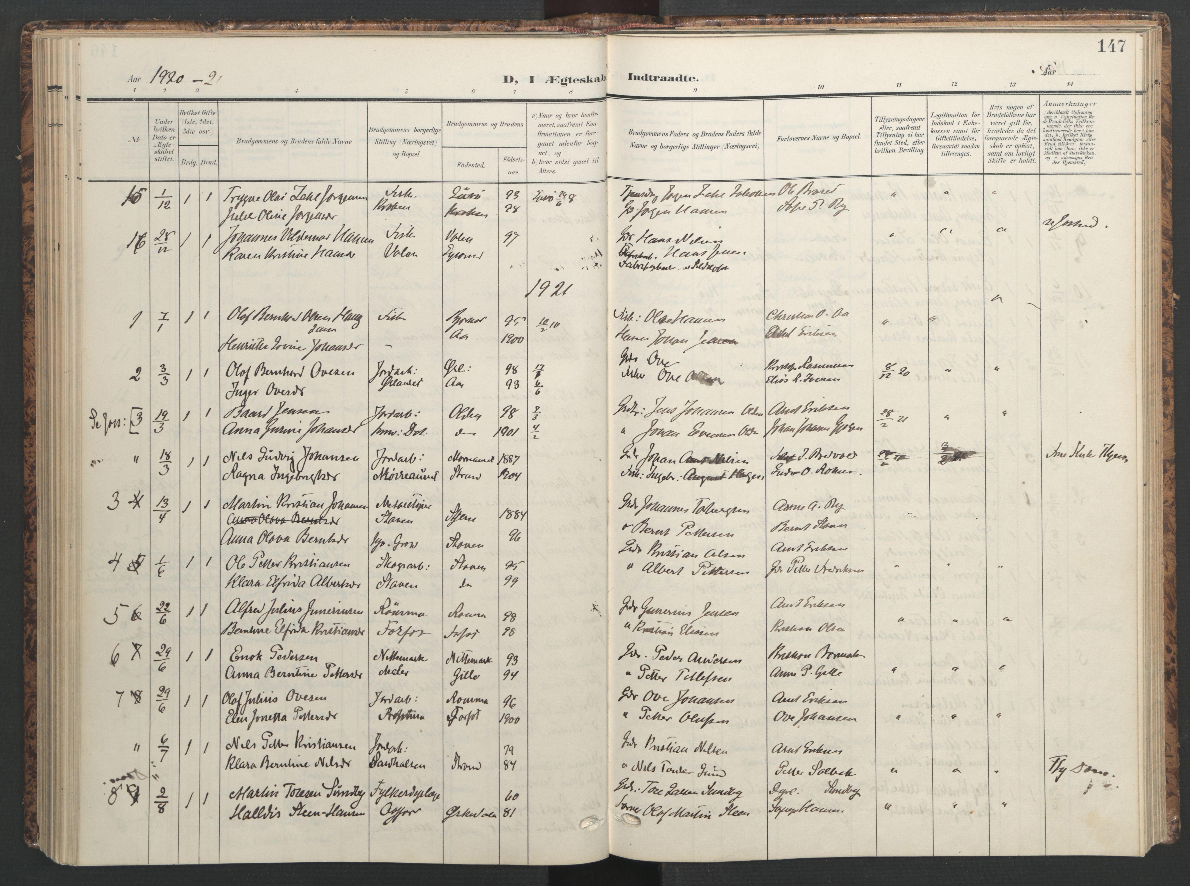 SAT, Ministerialprotokoller, klokkerbøker og fødselsregistre - Sør-Trøndelag, 655/L0682: Ministerialbok nr. 655A11, 1908-1922, s. 147