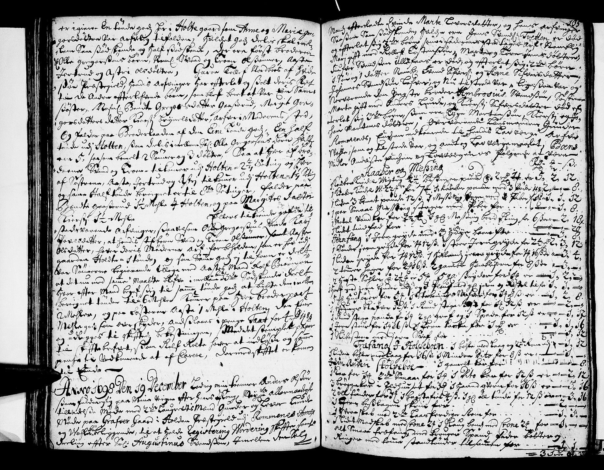 SAKO, Nedre Telemark sorenskriveri, H/Hb/Hba/L0004: Skifteprotokoll , 1696-1701, s. 134b-135a