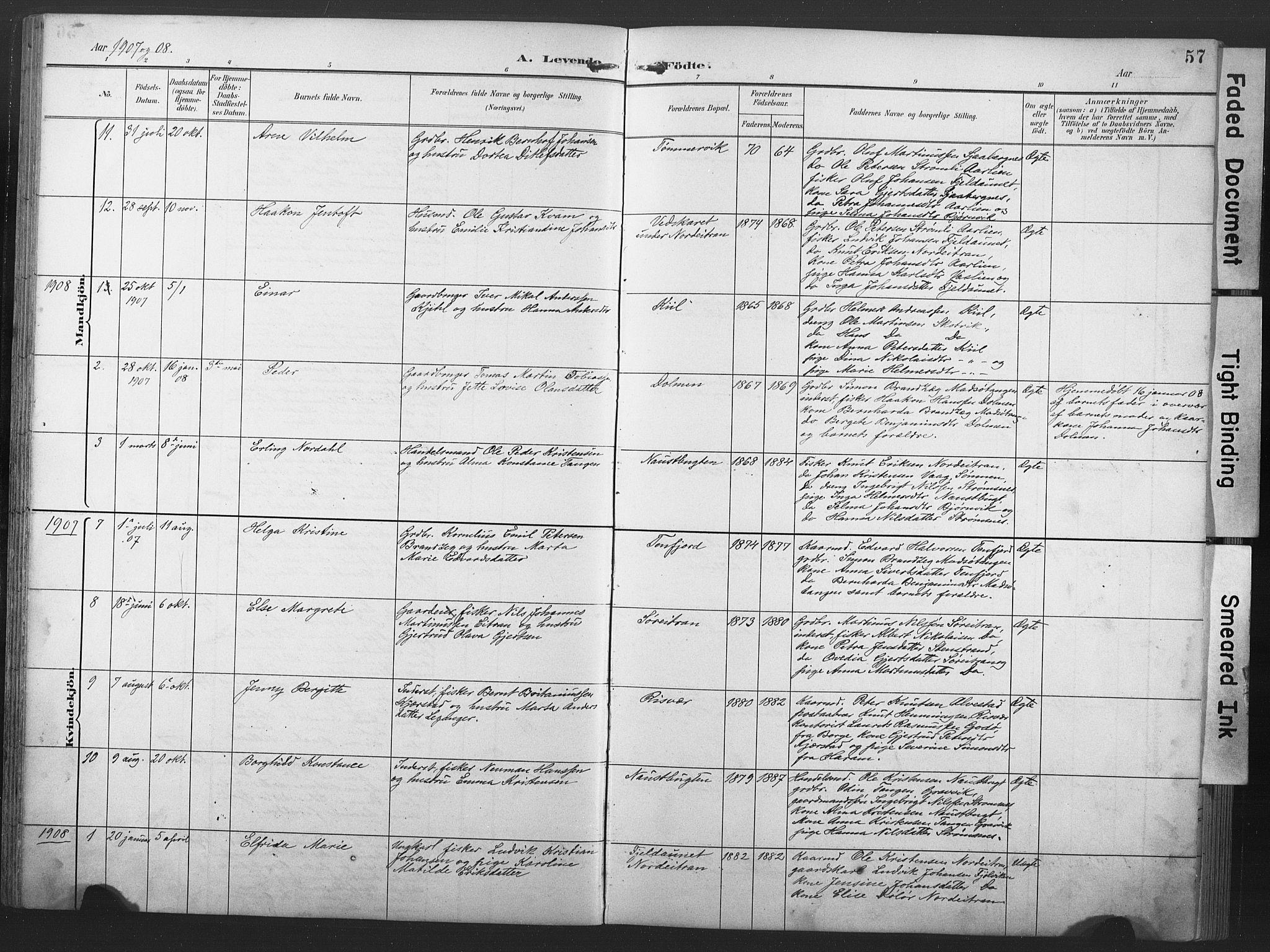 SAT, Ministerialprotokoller, klokkerbøker og fødselsregistre - Nord-Trøndelag, 789/L0706: Klokkerbok nr. 789C01, 1888-1931, s. 57