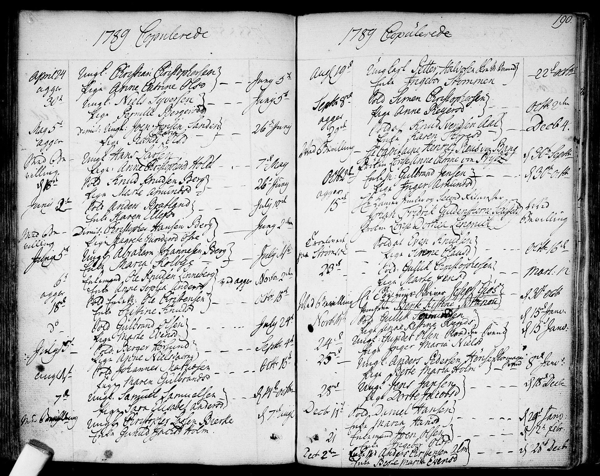 SAO, Garnisonsmenigheten Kirkebøker, F/Fa/L0003: Ministerialbok nr. 3, 1777-1809, s. 190