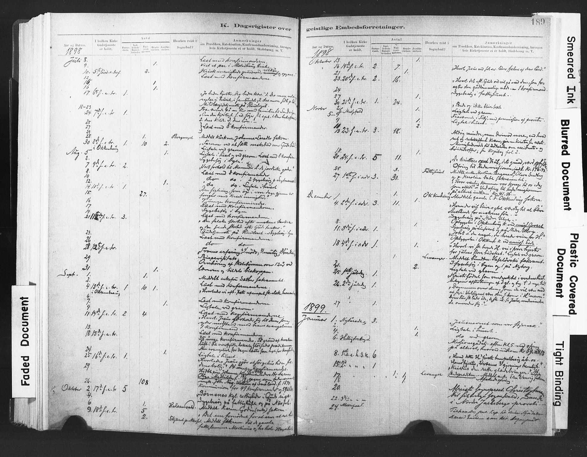 SAT, Ministerialprotokoller, klokkerbøker og fødselsregistre - Nord-Trøndelag, 720/L0189: Ministerialbok nr. 720A05, 1880-1911, s. 189