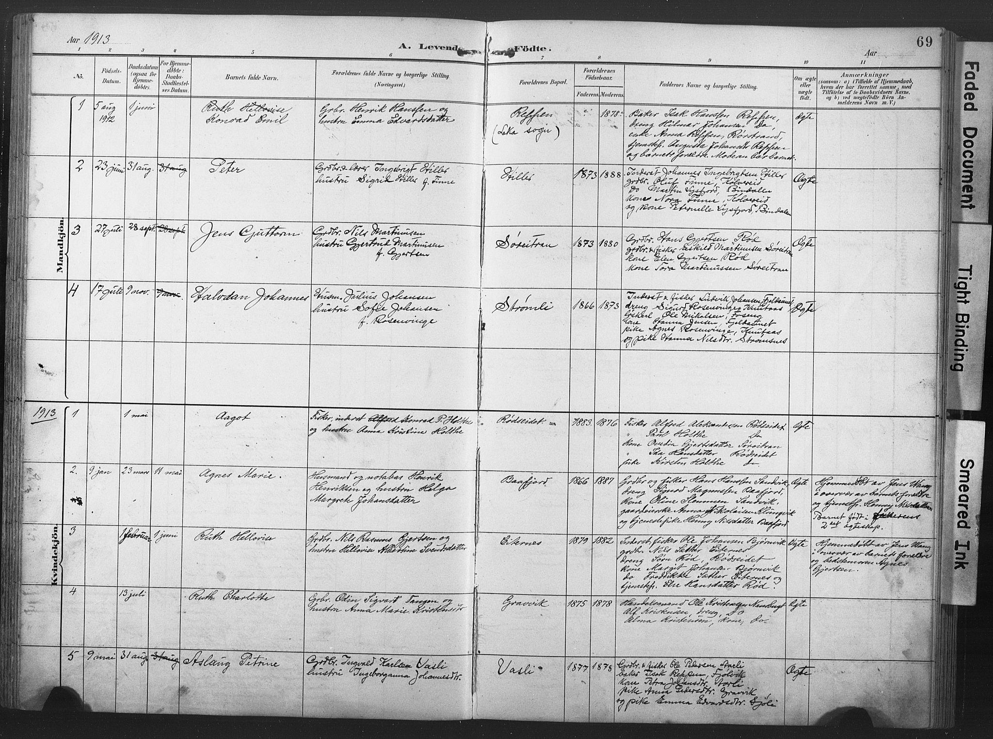 SAT, Ministerialprotokoller, klokkerbøker og fødselsregistre - Nord-Trøndelag, 789/L0706: Klokkerbok nr. 789C01, 1888-1931, s. 69