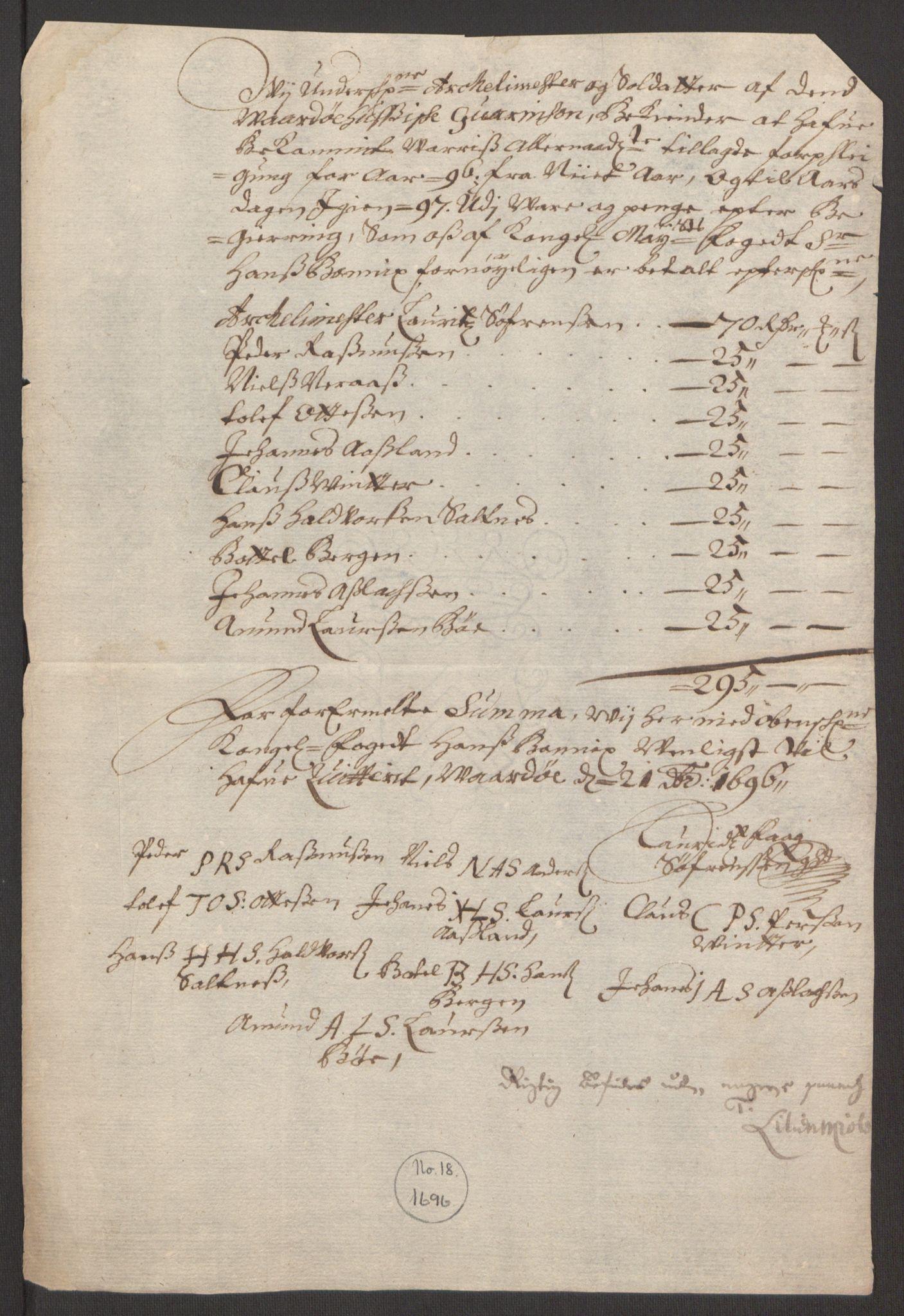 RA, Rentekammeret inntil 1814, Reviderte regnskaper, Fogderegnskap, R69/L4851: Fogderegnskap Finnmark/Vardøhus, 1691-1700, s. 292