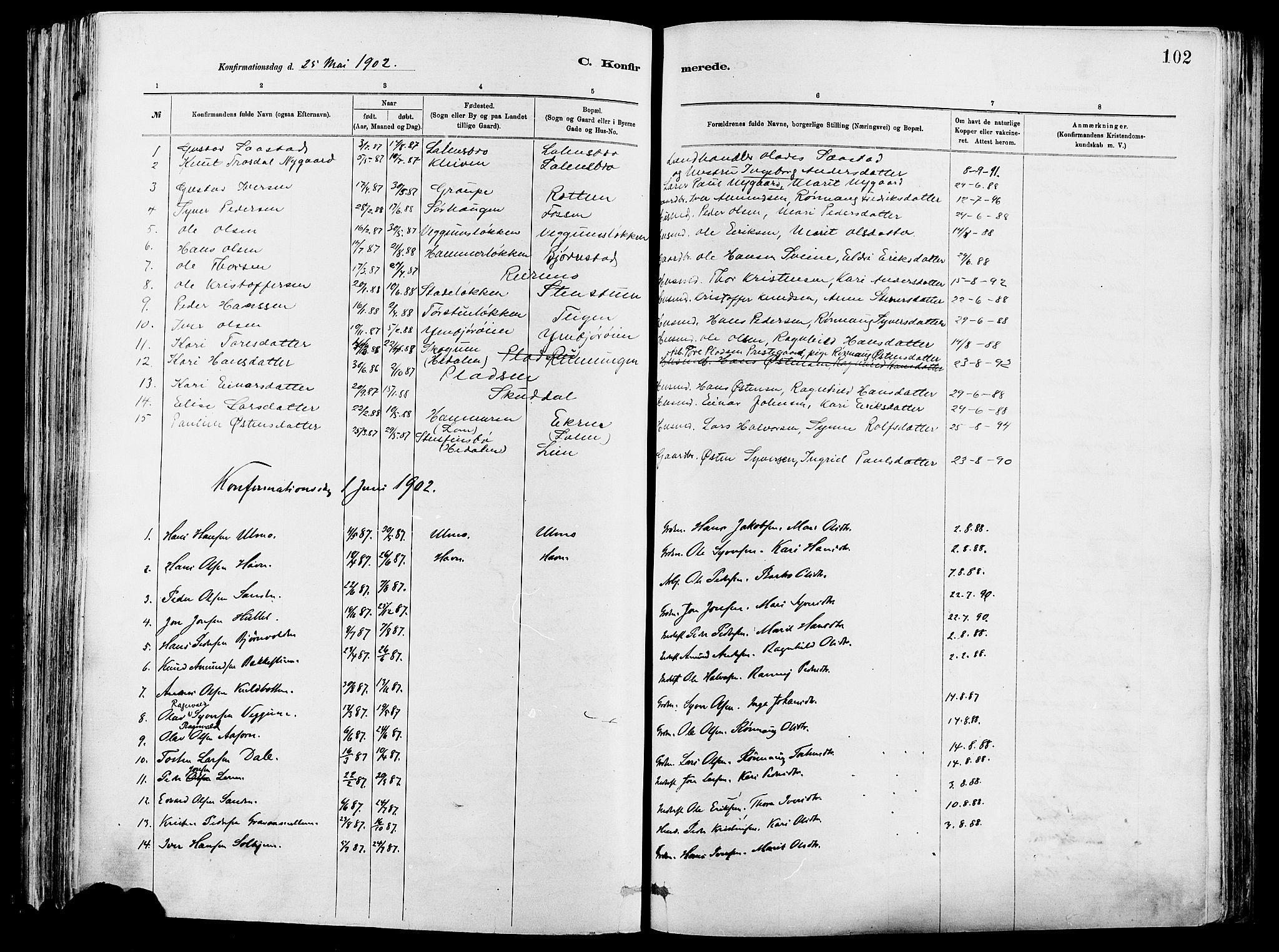 SAH, Vågå prestekontor, Ministerialbok nr. 8, 1886-1904, s. 102