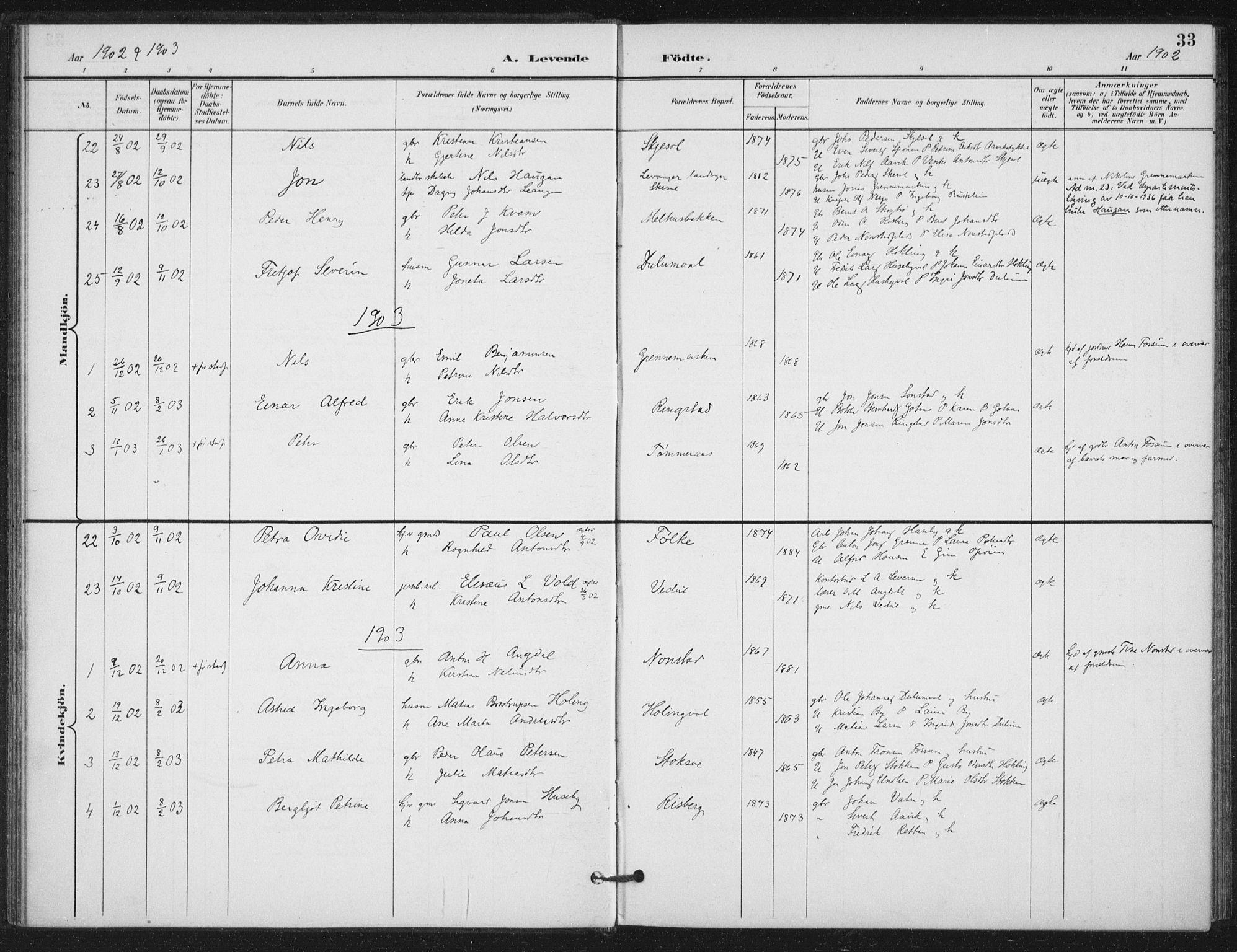 SAT, Ministerialprotokoller, klokkerbøker og fødselsregistre - Nord-Trøndelag, 714/L0131: Ministerialbok nr. 714A02, 1896-1918, s. 33
