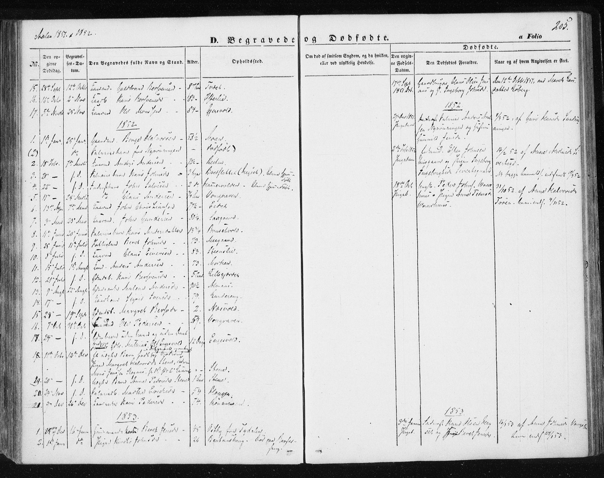 SAT, Ministerialprotokoller, klokkerbøker og fødselsregistre - Sør-Trøndelag, 685/L0965: Ministerialbok nr. 685A06 /3, 1846-1859, s. 205