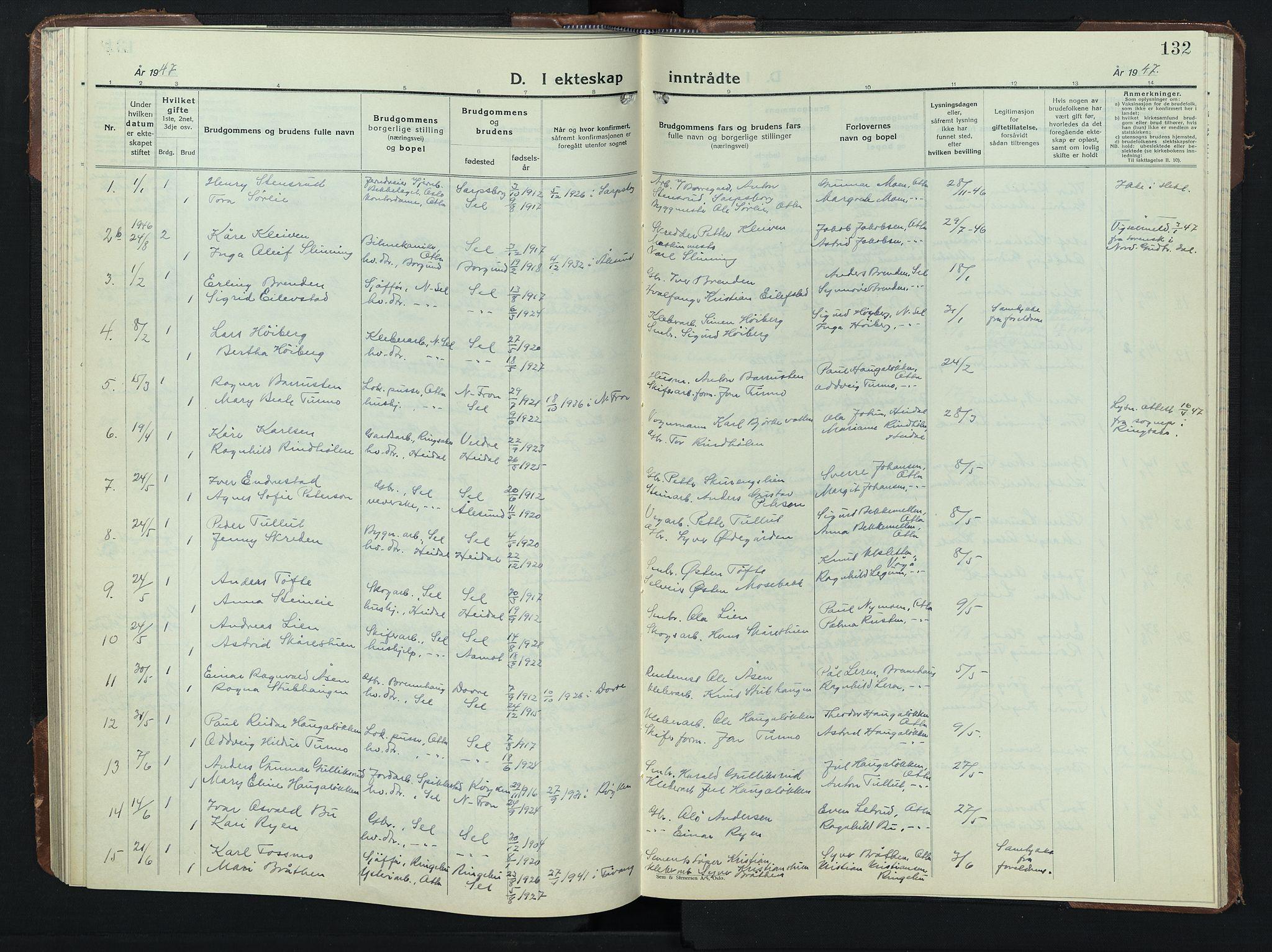 SAH, Sel prestekontor, Klokkerbok nr. 3, 1940-1951, s. 132