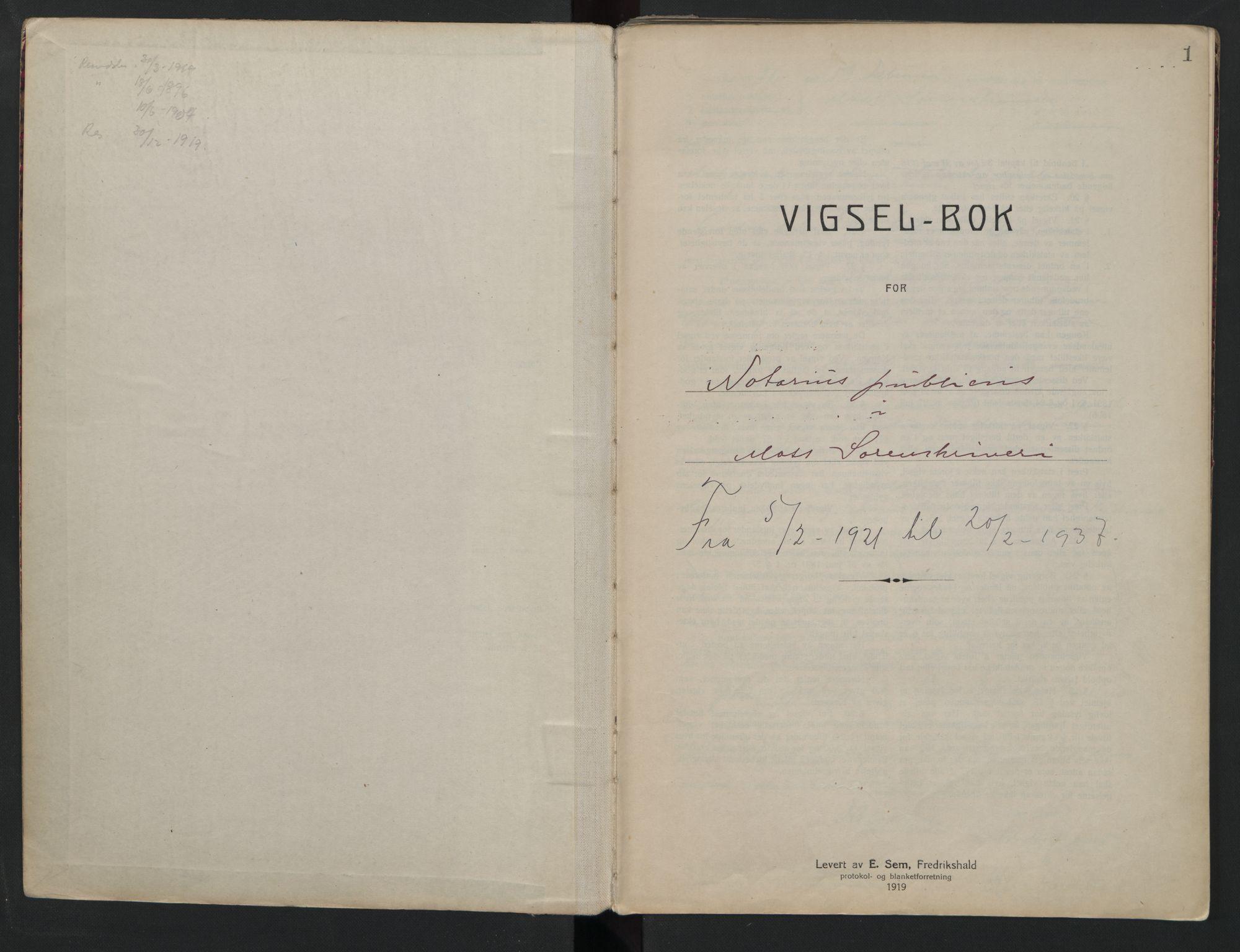 SAO, Moss sorenskriveri, 1921-1937, s. 1