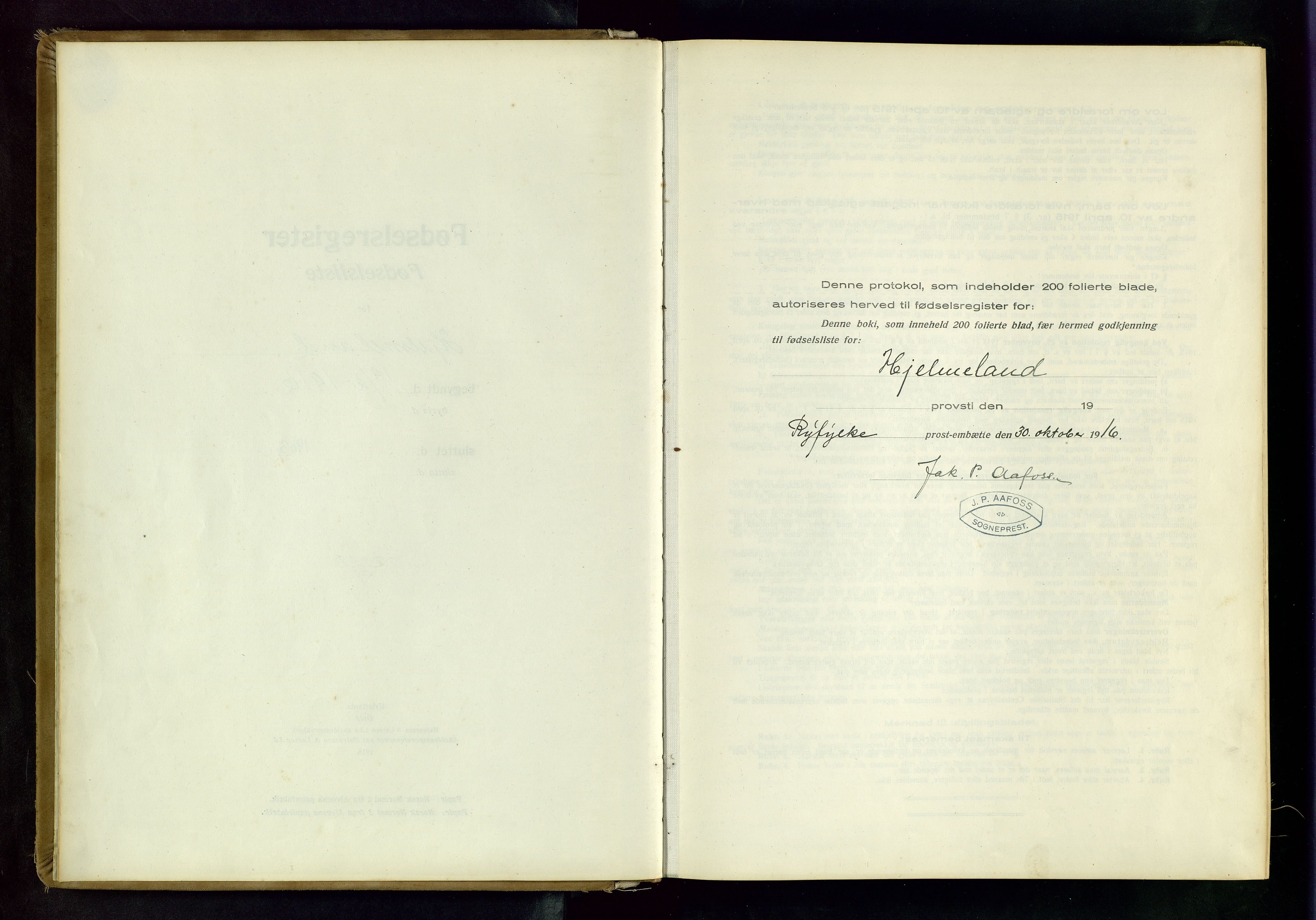 SAST, Hjelmeland sokneprestkontor, B/L0001: Fødselsregister nr. 1, 1916-1963