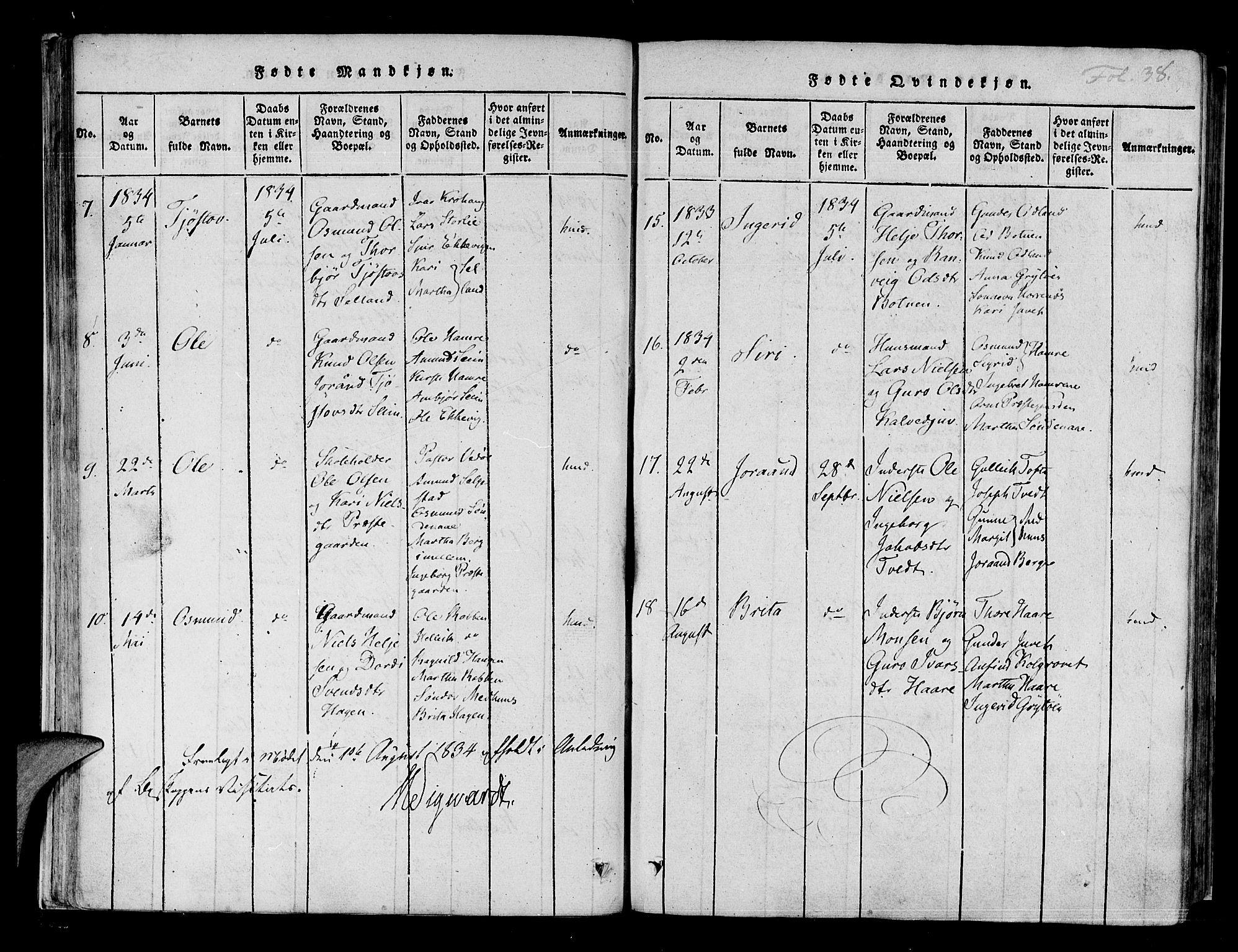 SAB, Røldal sokneprestembete*, Ministerialbok nr. A 2, 1817-1856, s. 38