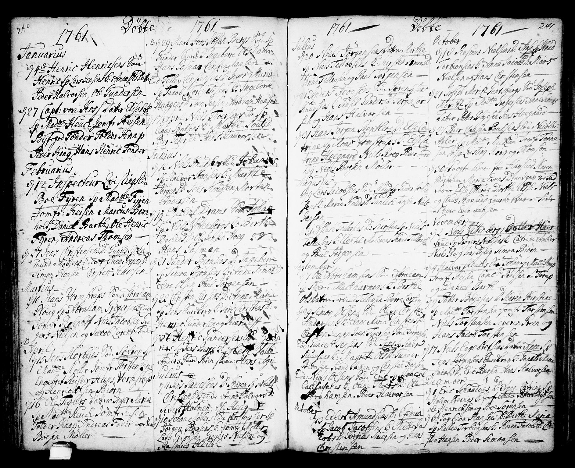 SAKO, Kragerø kirkebøker, F/Fa/L0001: Ministerialbok nr. 1, 1702-1766, s. 240-241