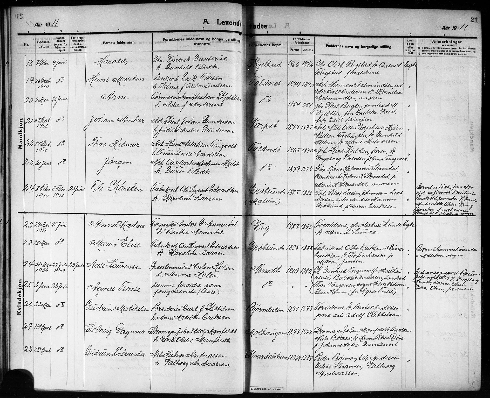SAKO, Solum kirkebøker, G/Ga/L0009: Klokkerbok nr. I 9, 1909-1922, s. 21