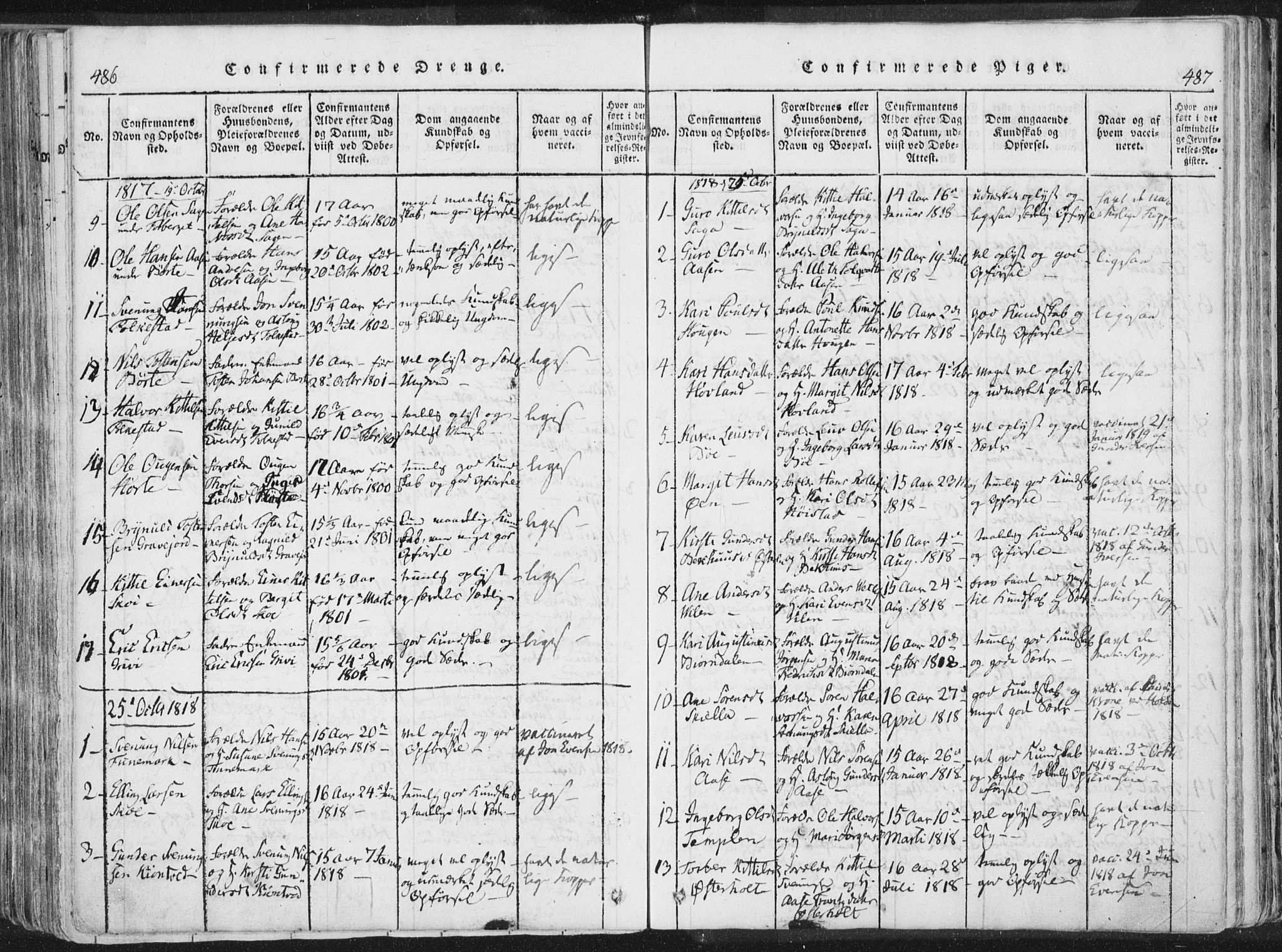 SAKO, Bø kirkebøker, F/Fa/L0006: Ministerialbok nr. 6, 1815-1831, s. 486-487