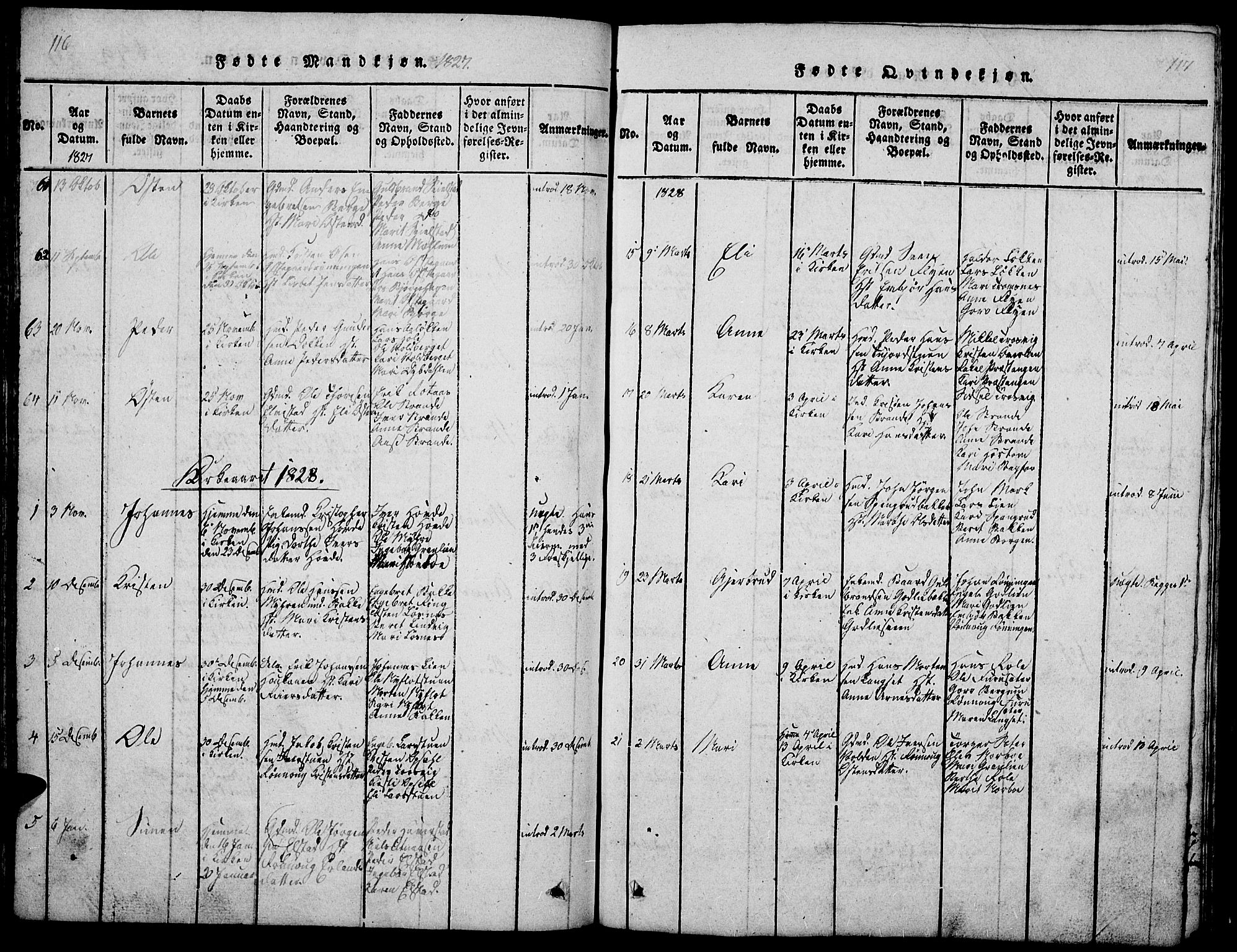 SAH, Ringebu prestekontor, Klokkerbok nr. 1, 1821-1839, s. 116-117