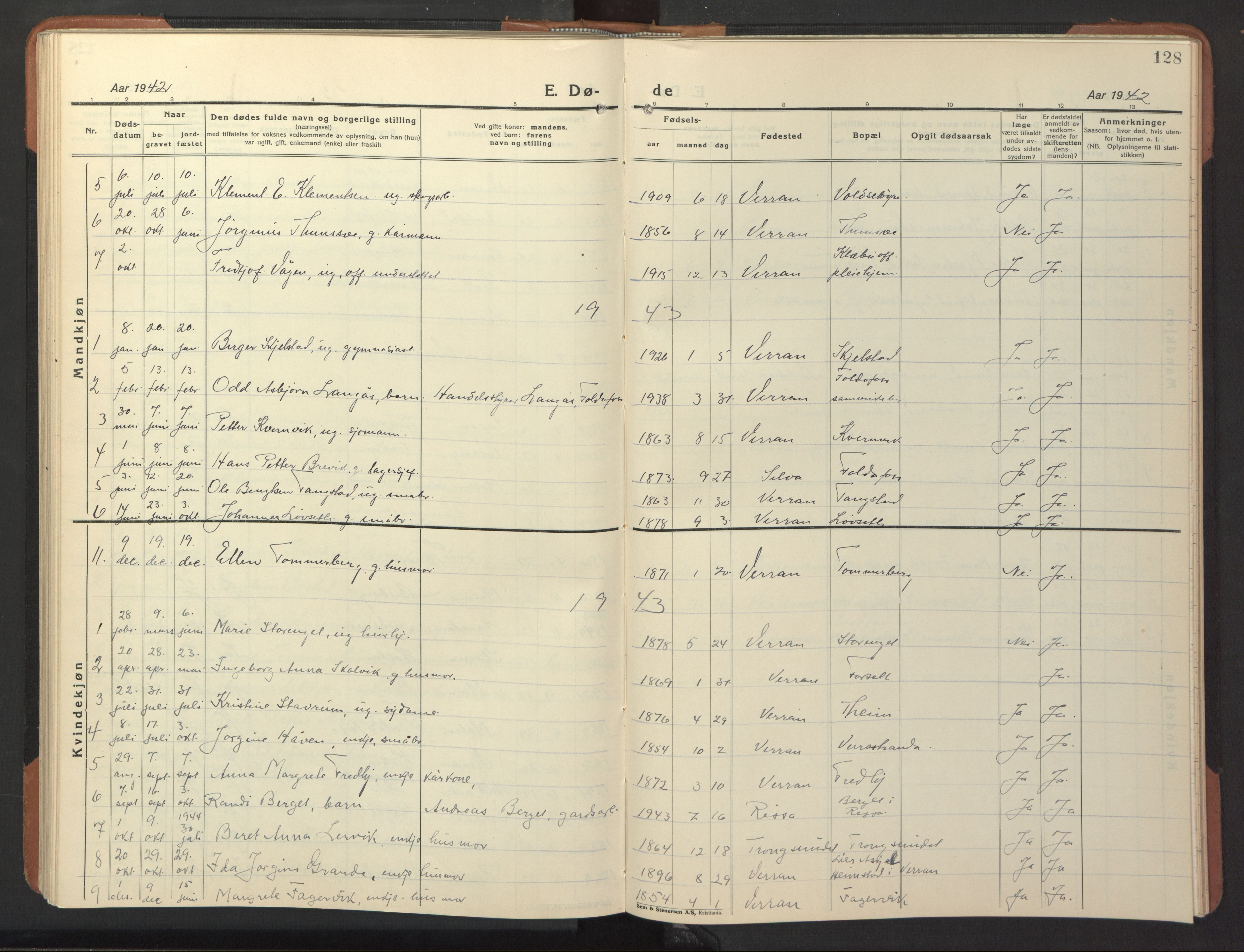 SAT, Ministerialprotokoller, klokkerbøker og fødselsregistre - Nord-Trøndelag, 744/L0425: Klokkerbok nr. 744C04, 1924-1947, s. 128
